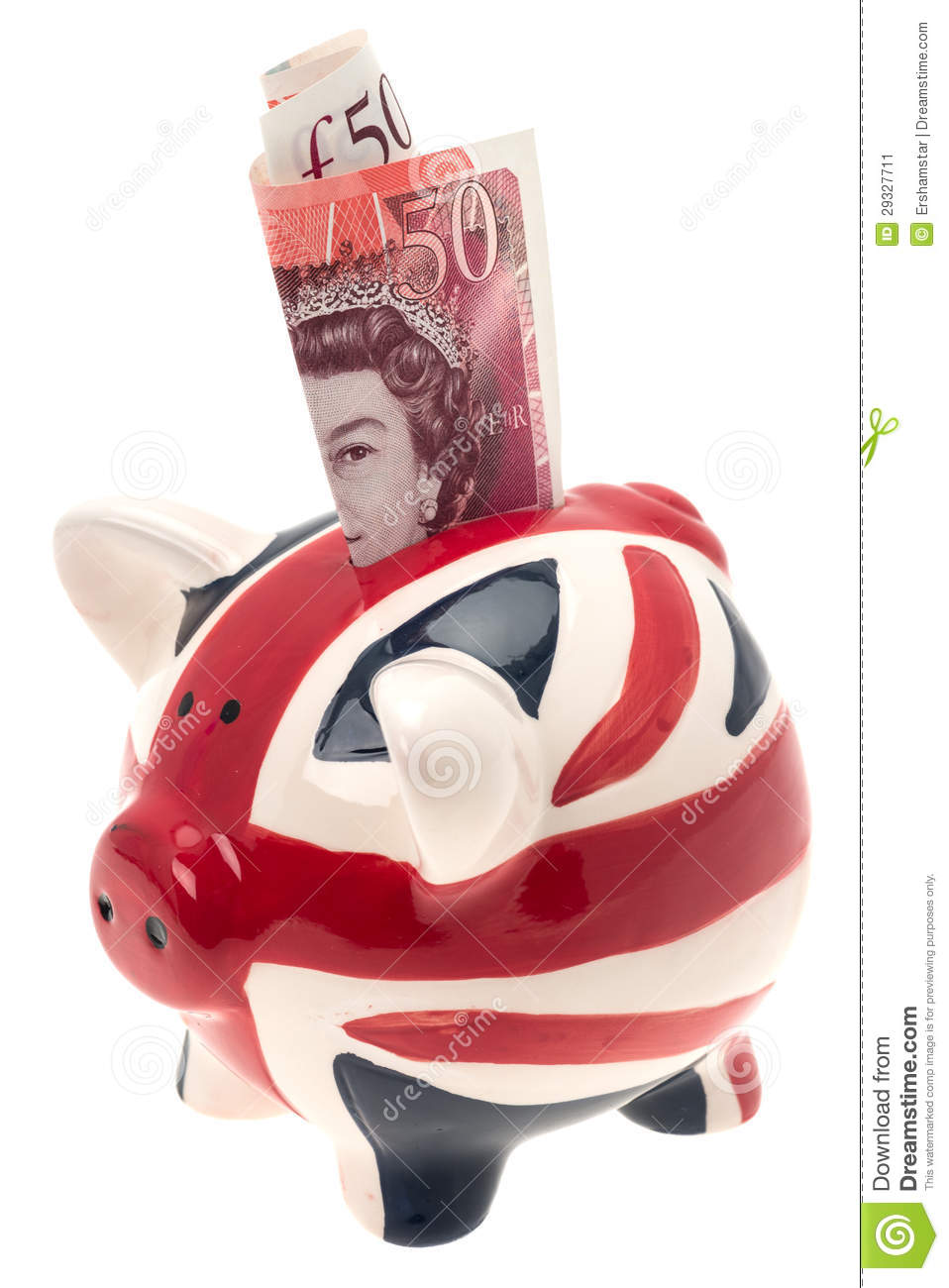 Uk flag china piggy bank with banknote editorial photo for How to make a piggy bank you can t open