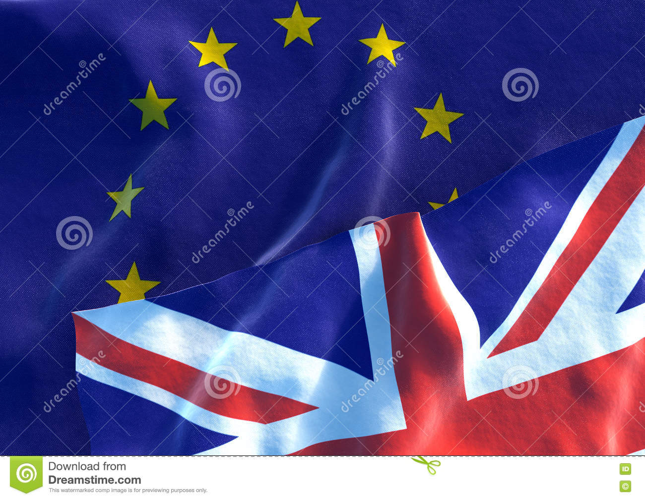 uk flag and eu flag british union jack flag 3d render stock
