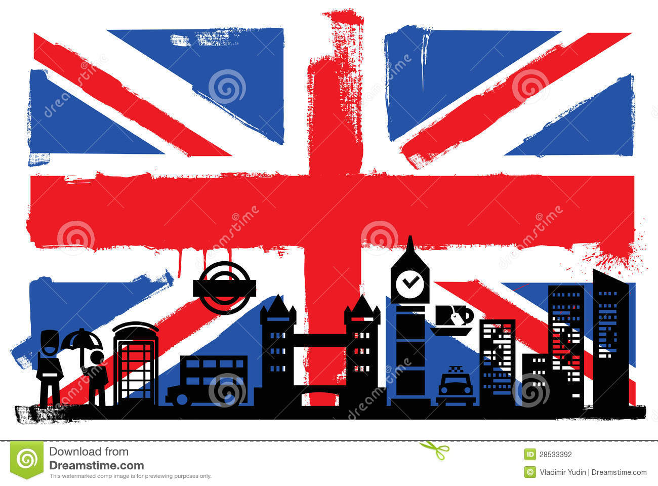 UK Flag And Silhouettes Stock Photography - Image: 28533392