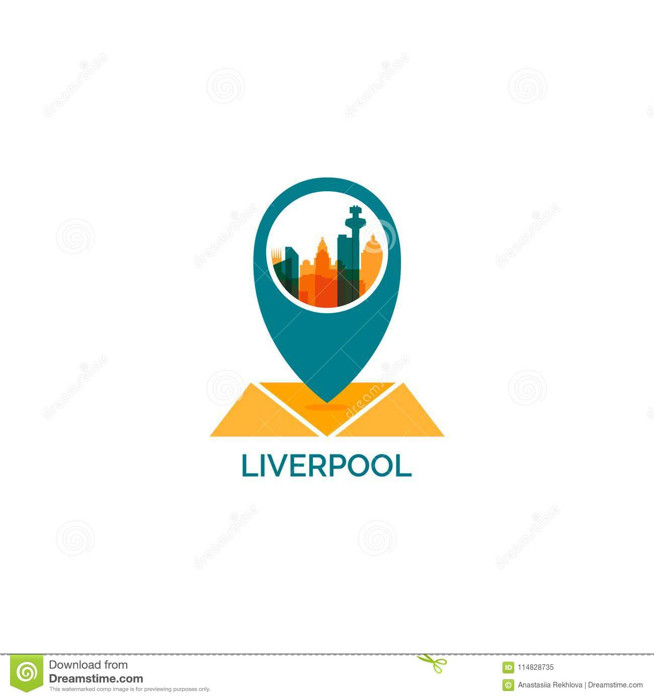 Liverpool City Skyline Silhouette Vector Logo Illustration