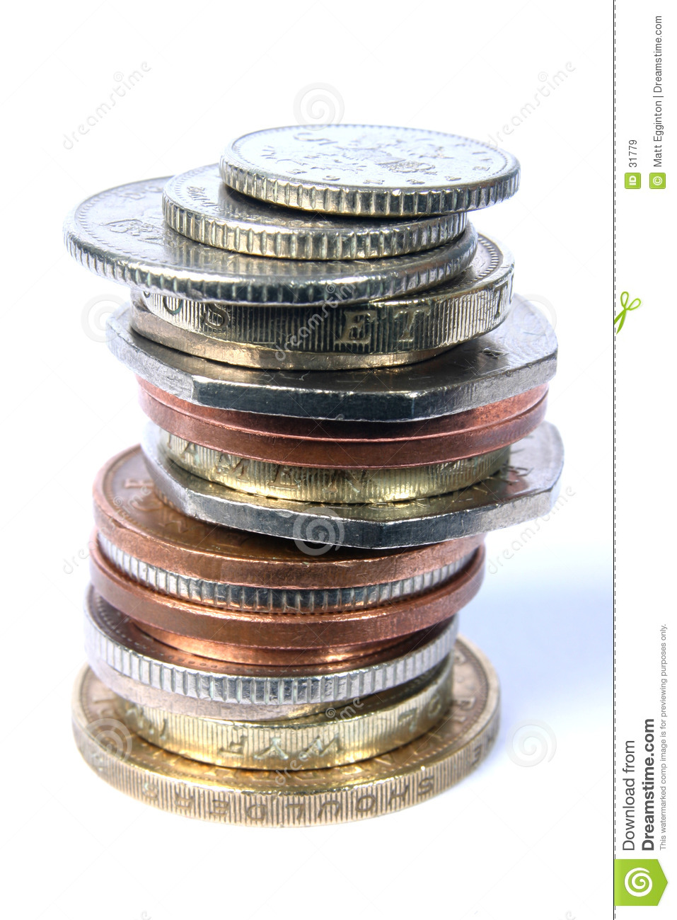 UK Mixed Coin stack