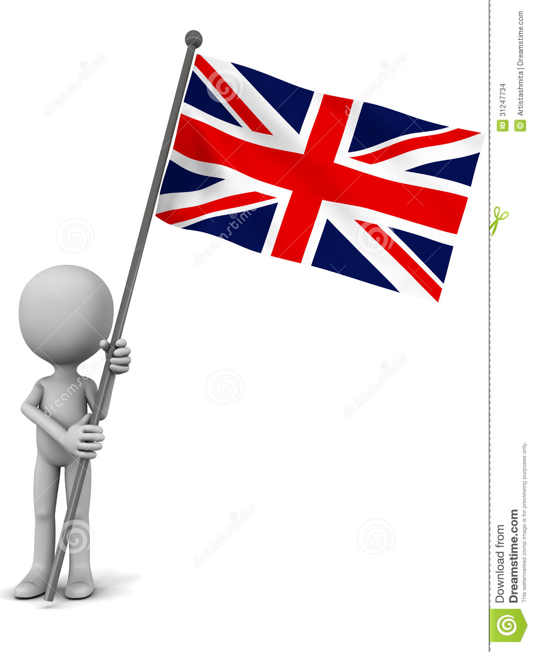 UK national flag hoisted by a little 3d man, white background.