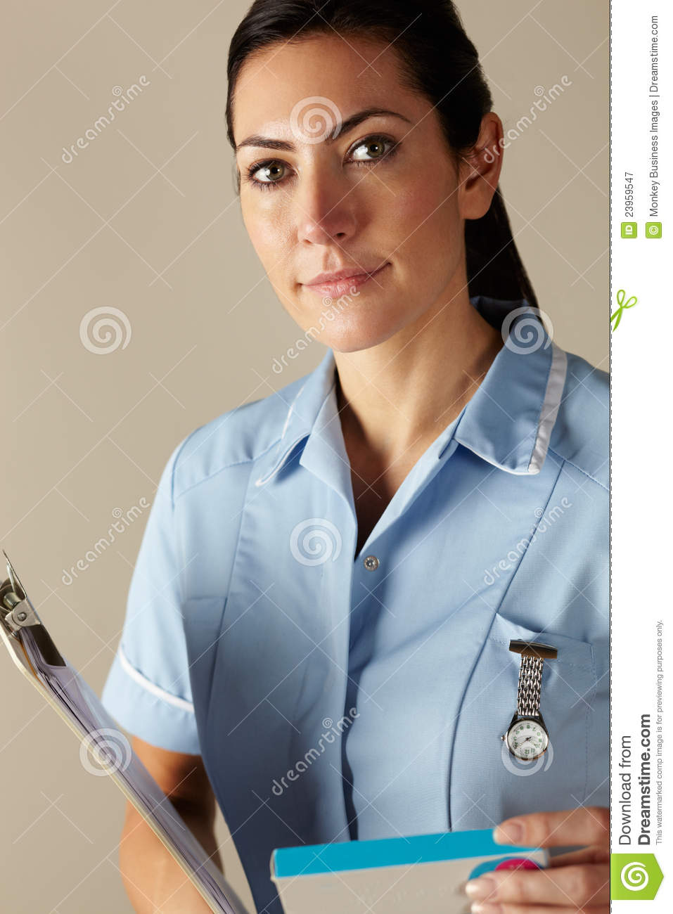 uk nurse holding prescription drug pack royalty free stock