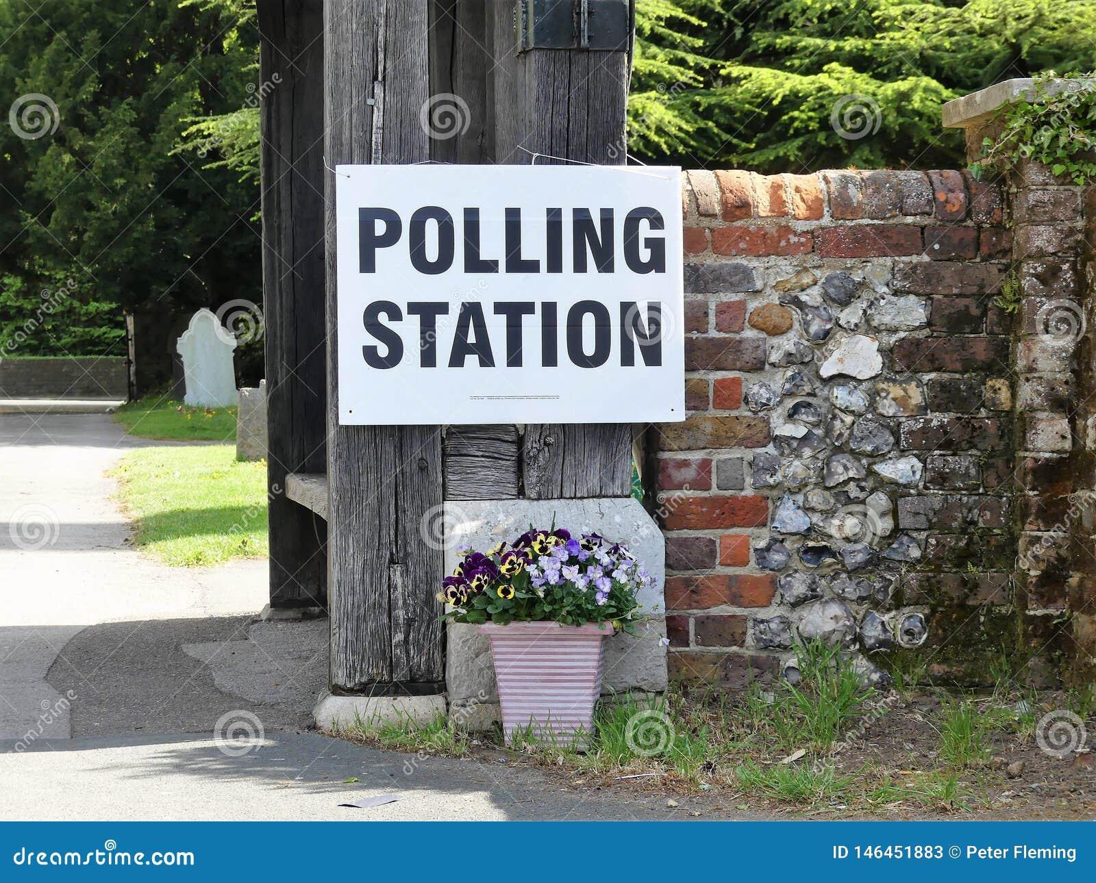 UK polling station sign at church premises