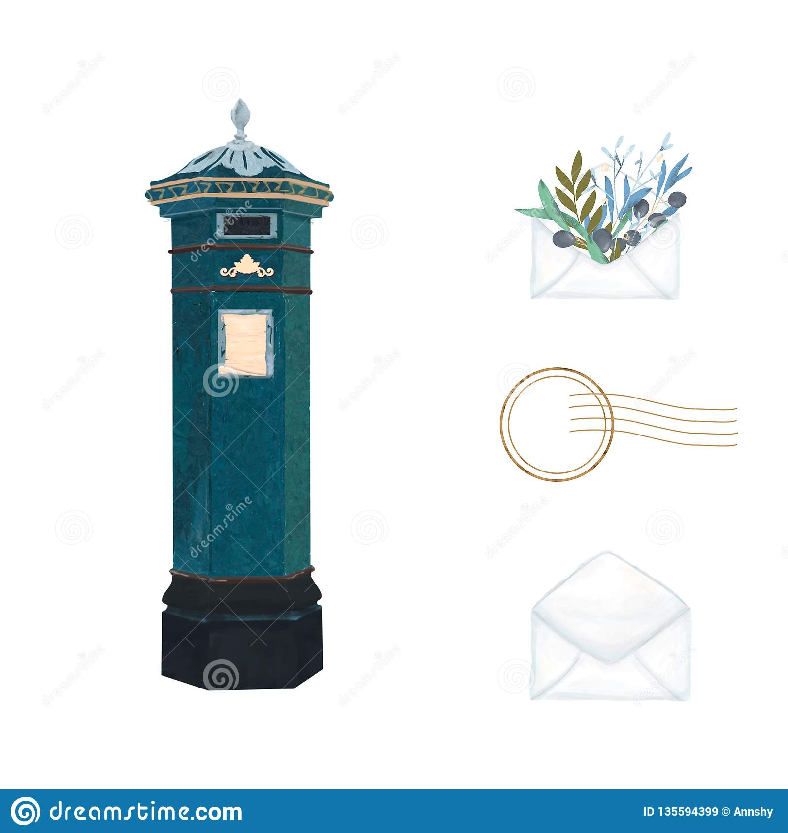 UK postbox akwareli muśnięcia ilustracja z pionowo filaru listewnikiem, społeczeństwa ściennym listowym pudełkiem i kopertą, Rocz
