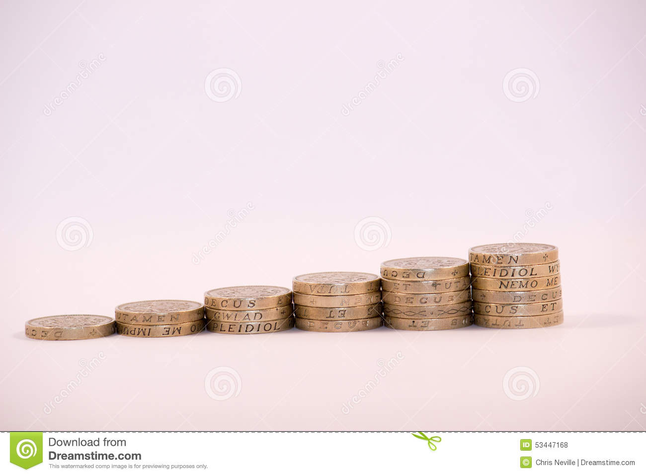 UK Pound Coins stacked in columns