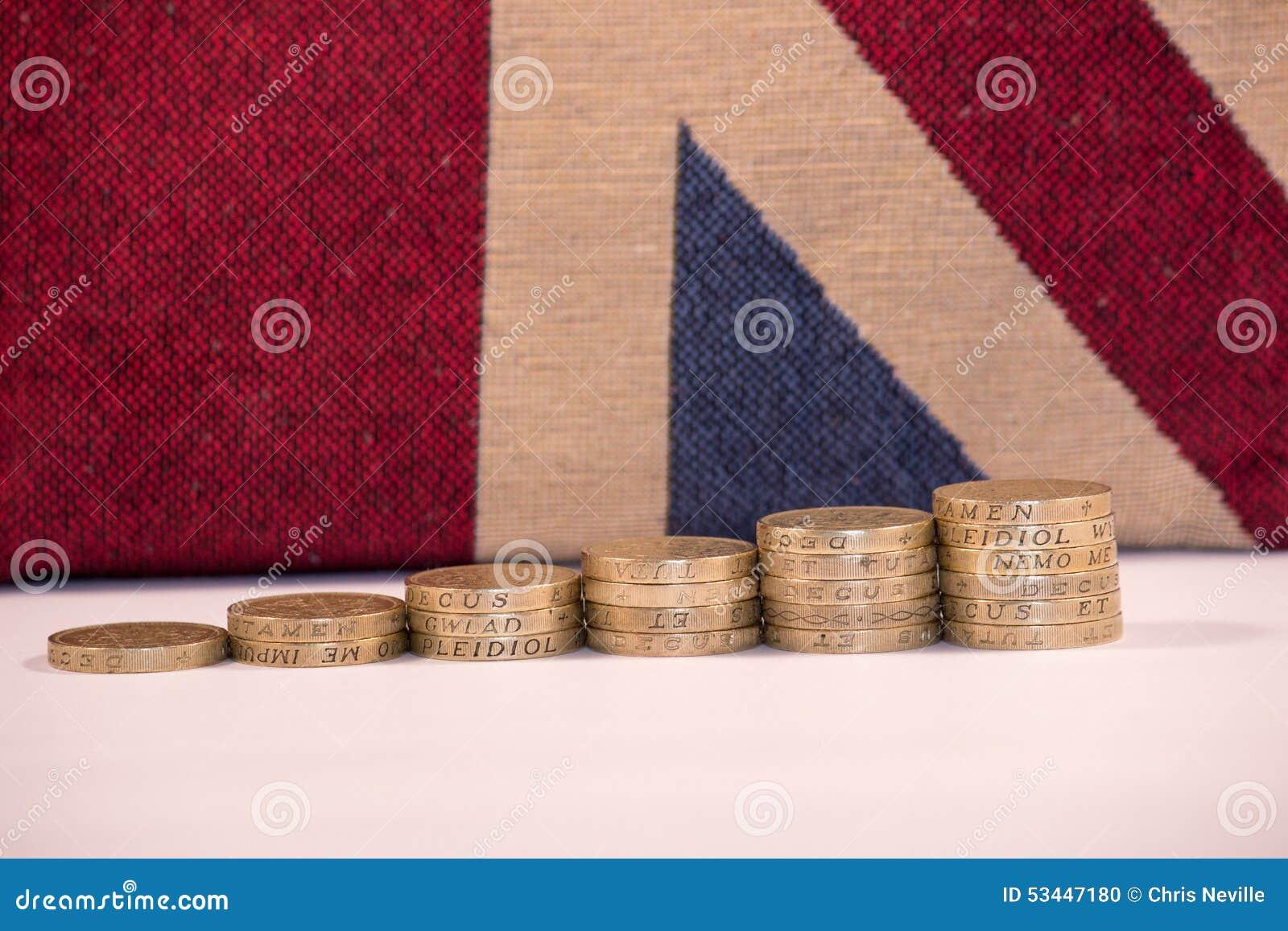 UK Pound Coins on Union Jack Background