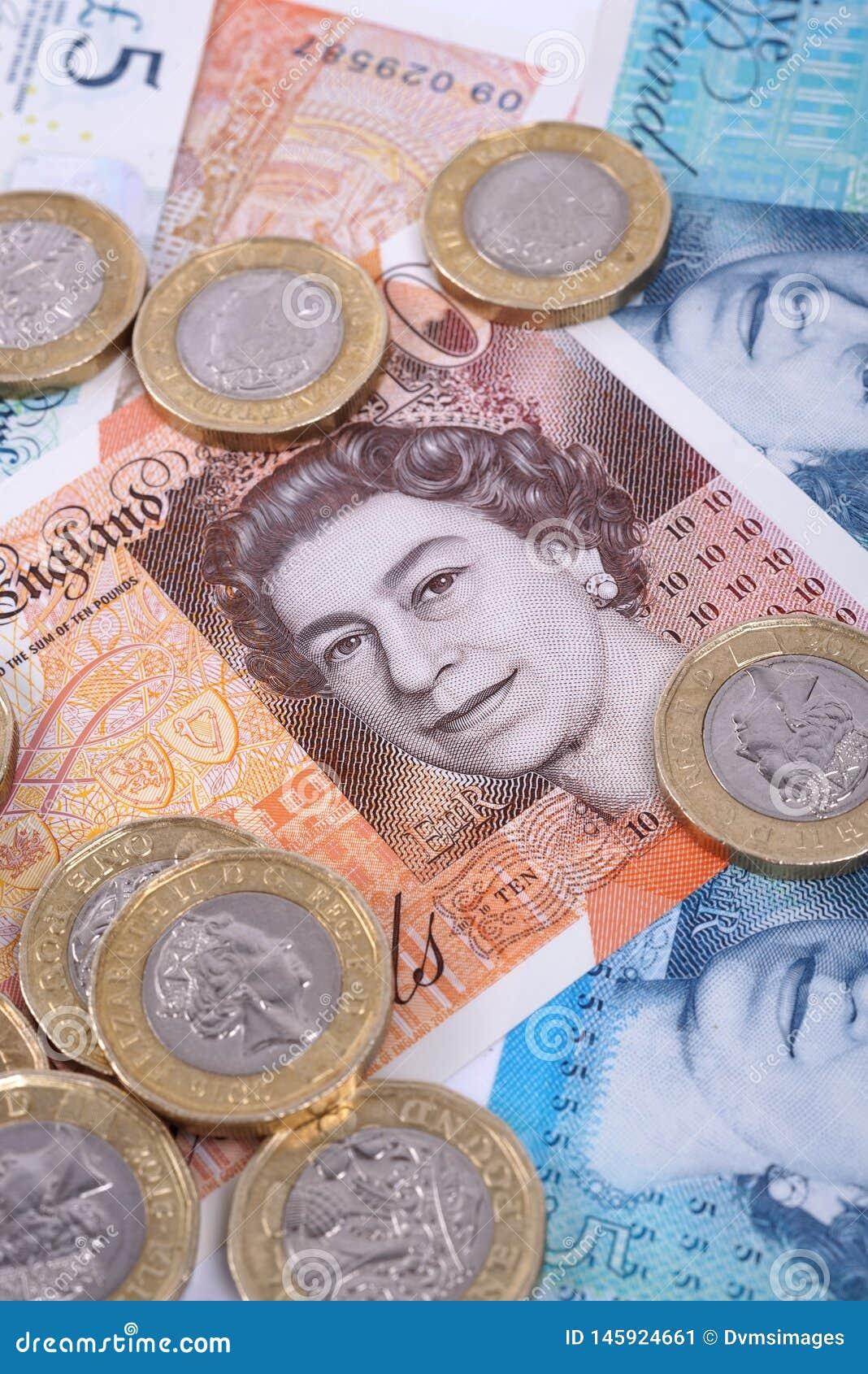 UK-sedel- och myntCloseup