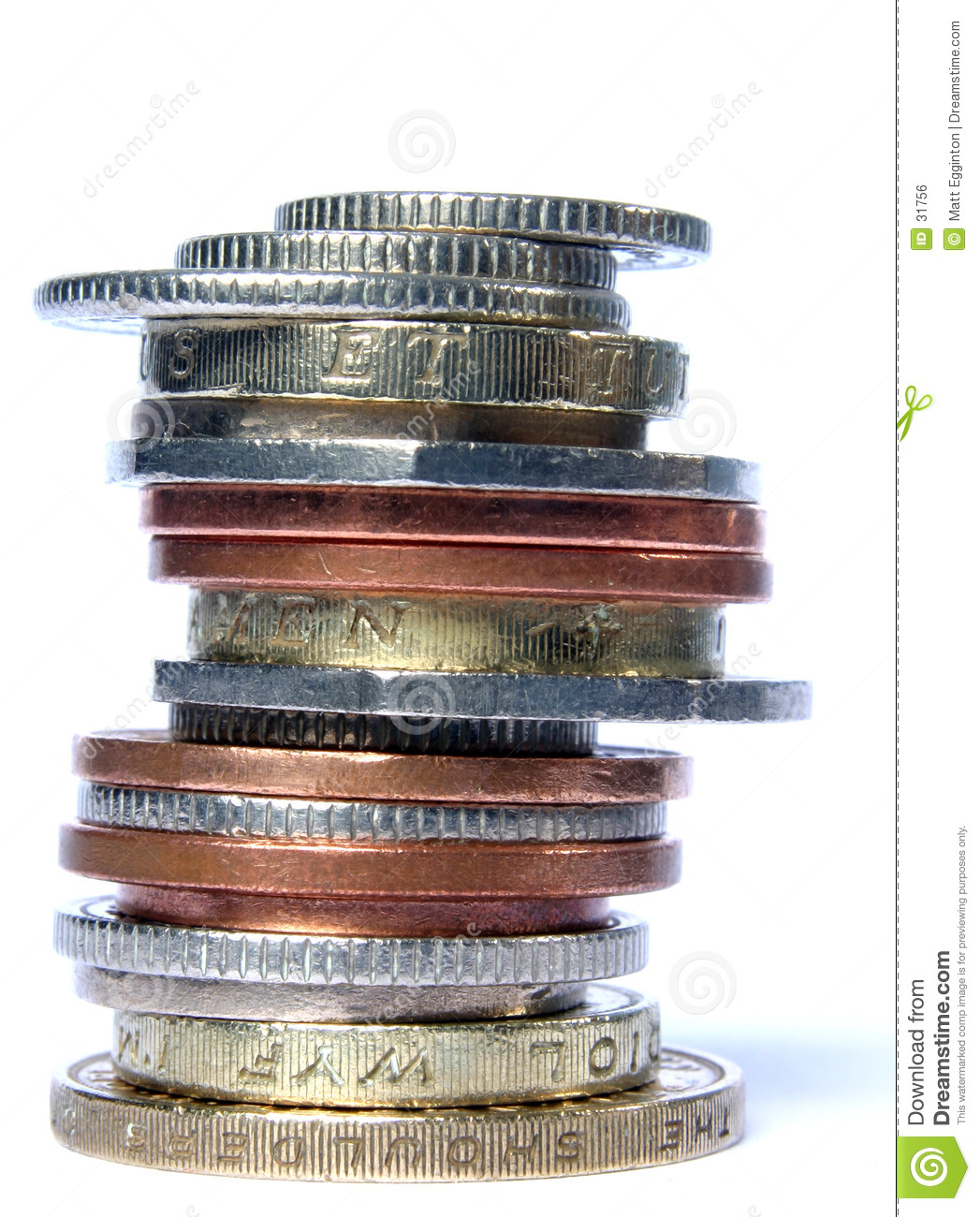 UK stack of mixed coins