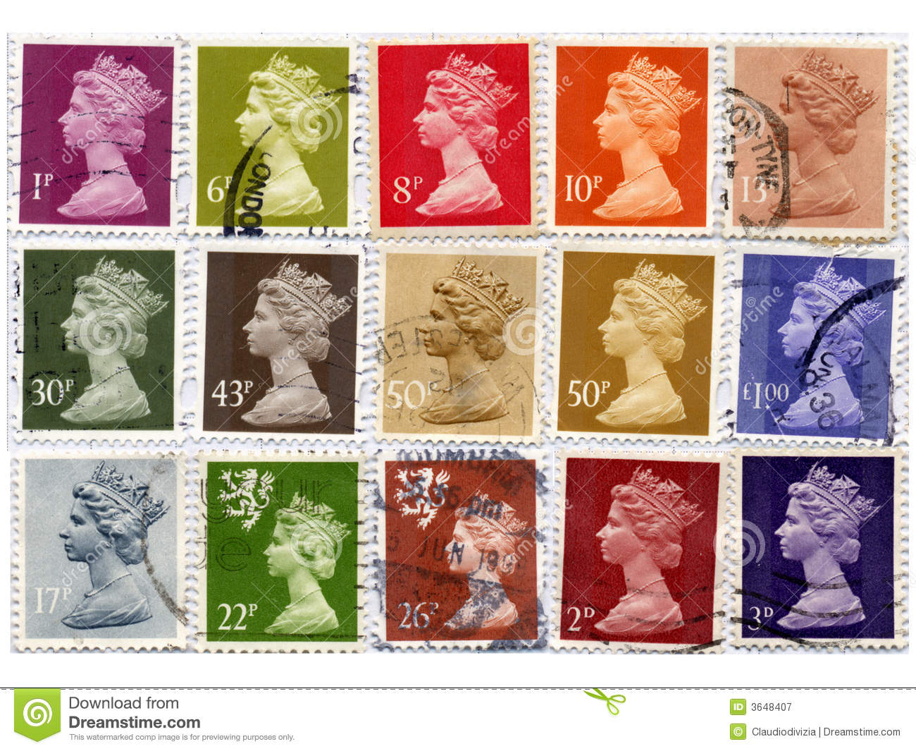 Uk Stamps Royalty Free Stock Photography Image 3648407