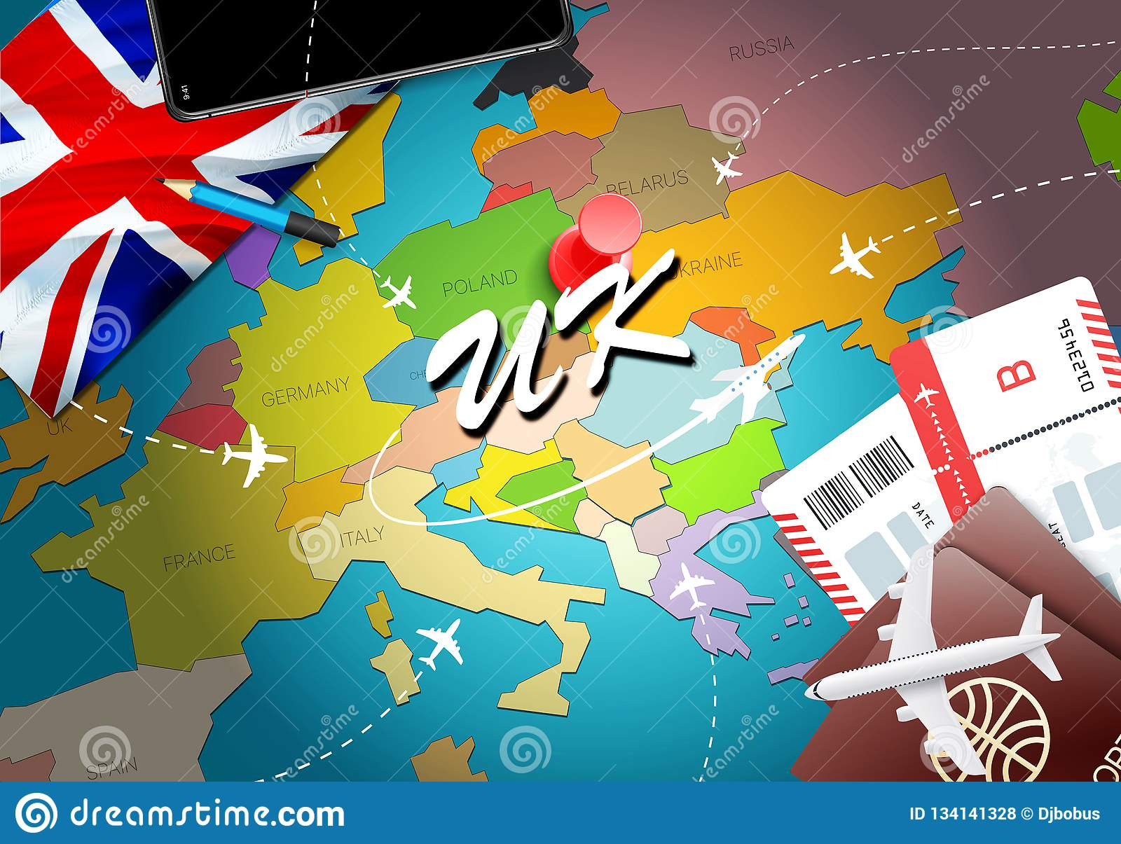 UK travel concept map background with planes,tickets. Visit UK travel and tourism destination concept. UK flag on map. Planes and
