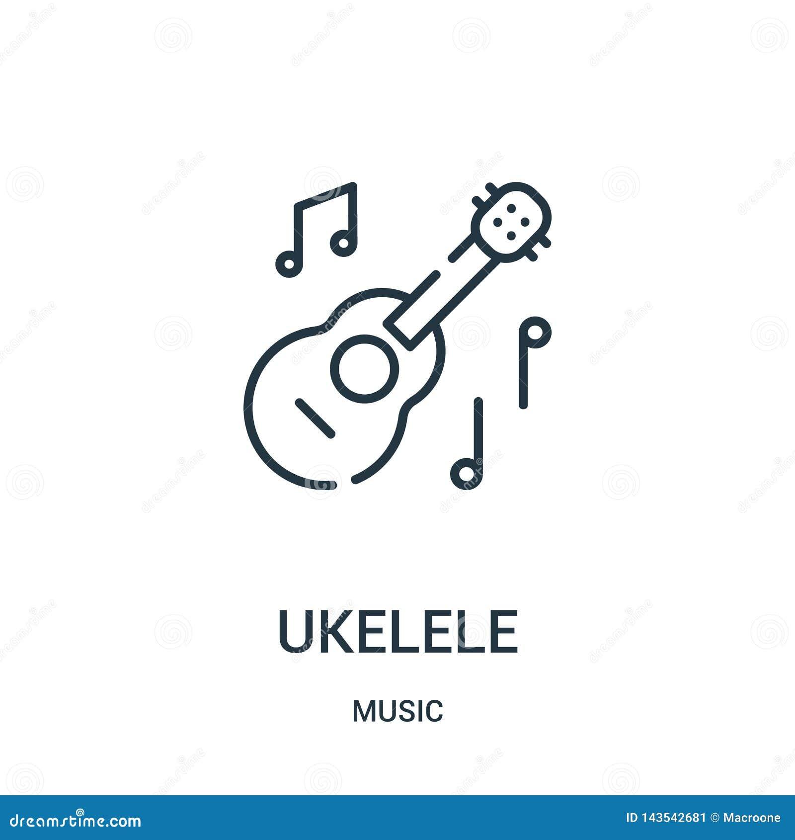 Ukelele Ikonenvektor von der Musiksammlung Dünne Linie ukelele Entwurfsikonen-Vektorillustration