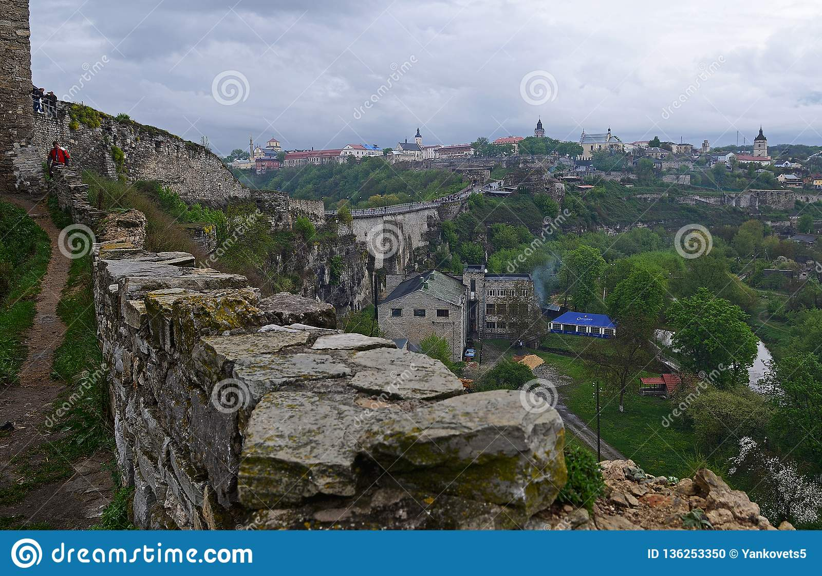Ukraine, Kamyanets-Podilsky fortress in the rain on May 2, 2015
