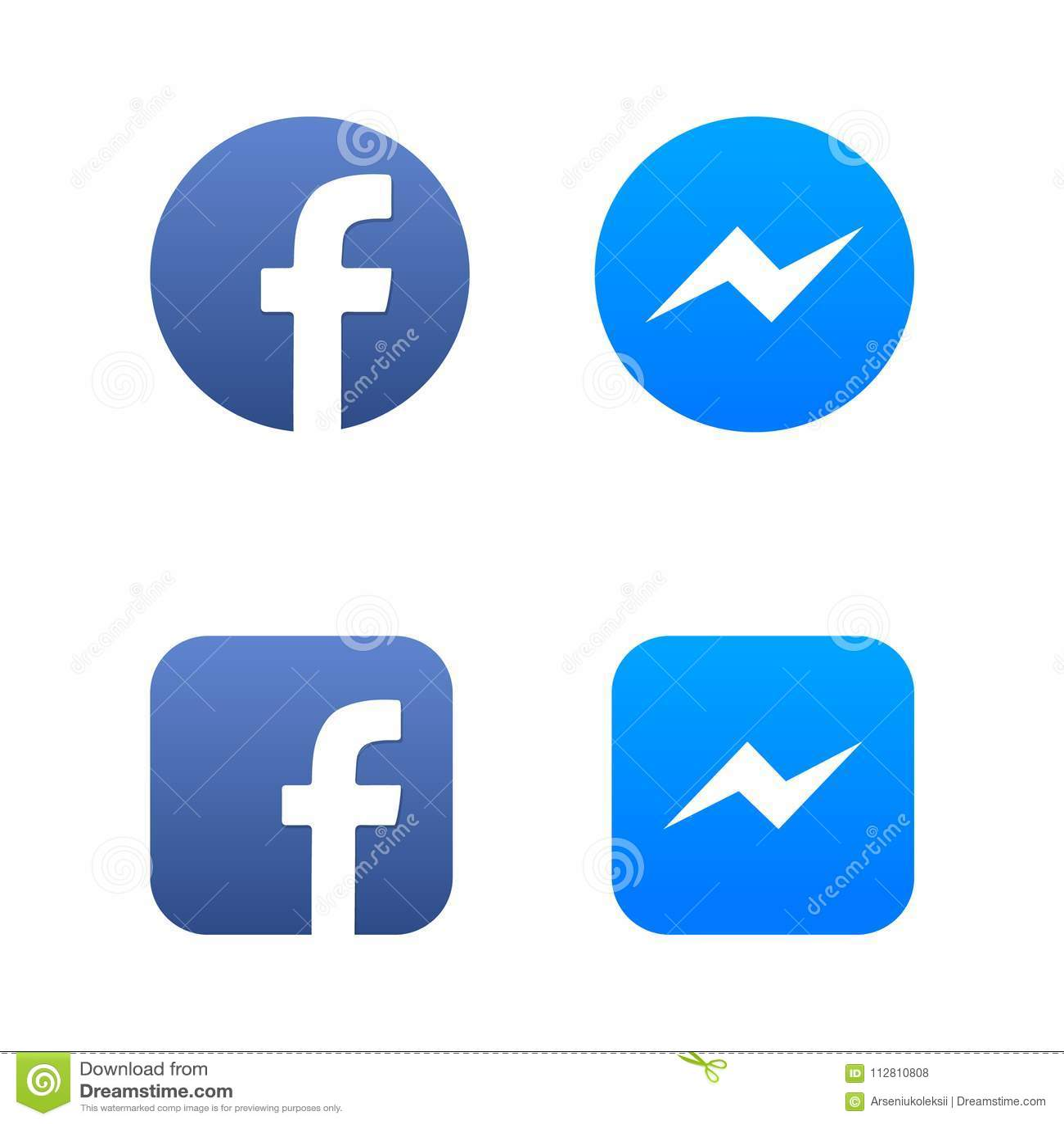 UKRAINE - CHERKASY JANUARY 22, 2018 Facebook and messenger media icons