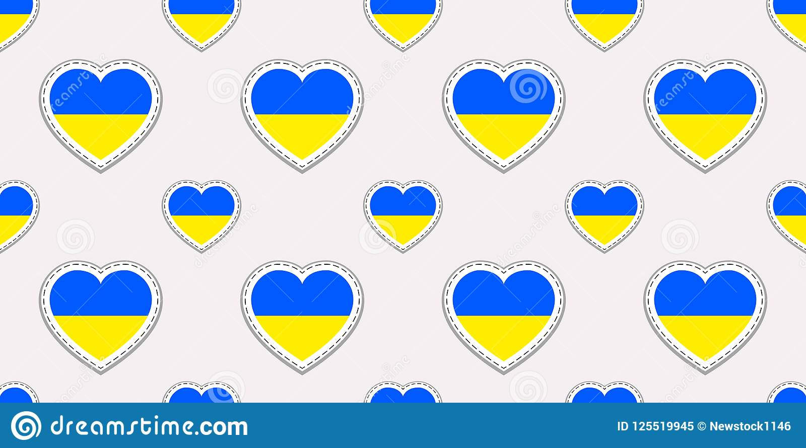 Ukraine Flag Seamless Pattern Vector Ukrainian Flags Stikers Love