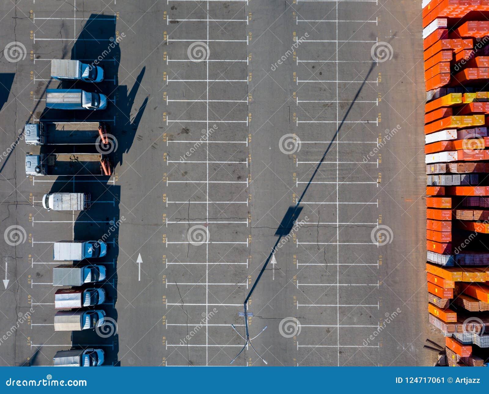 Ukraine, Kiev. April 08, 2018. Building store Epicentr K. Parking place, warehouse storage of building materials and