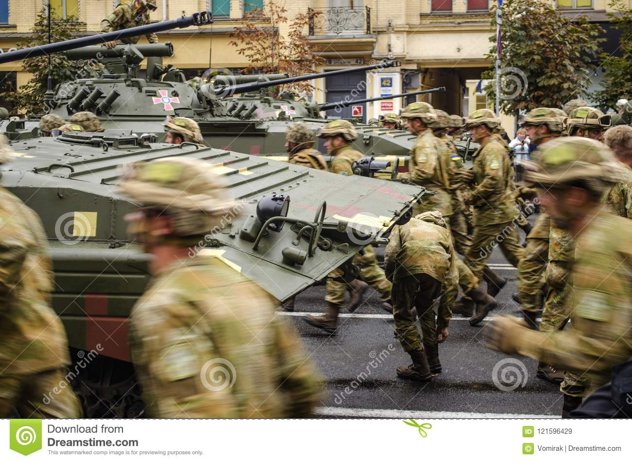Ukraine, Kiev, August 24, 2016. Military parade dedicated to the Independence Day of Ukraine.