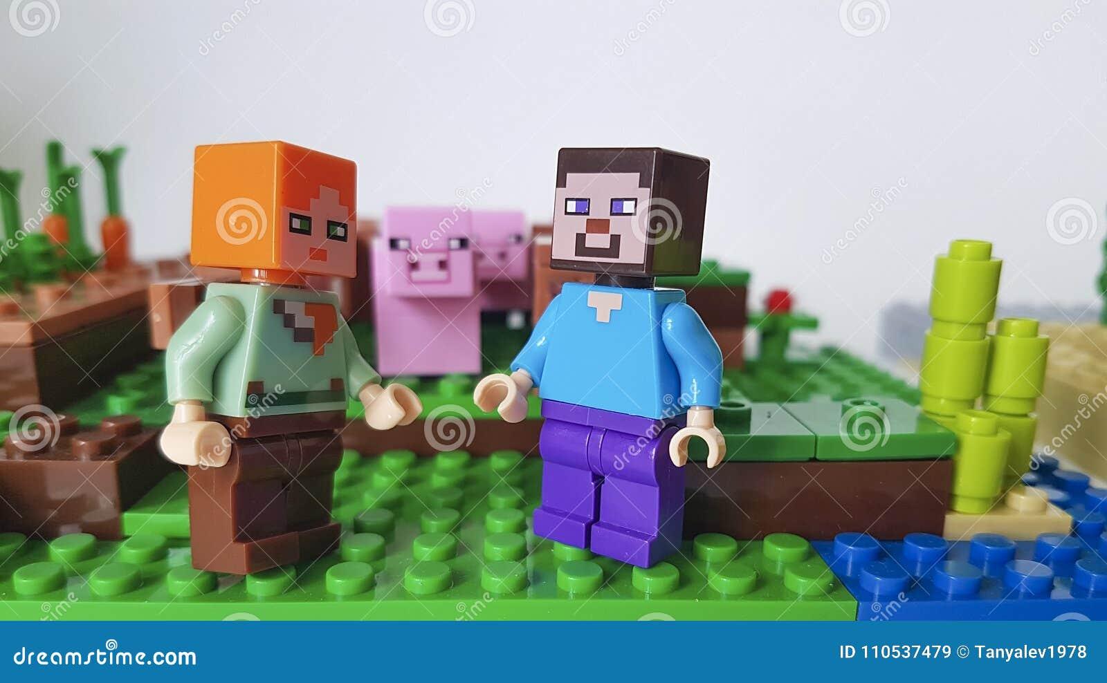 Ukraine Kiev February 21 2018 mini figure pig farm sword man plastic game popular childhood Lego Minecraft square