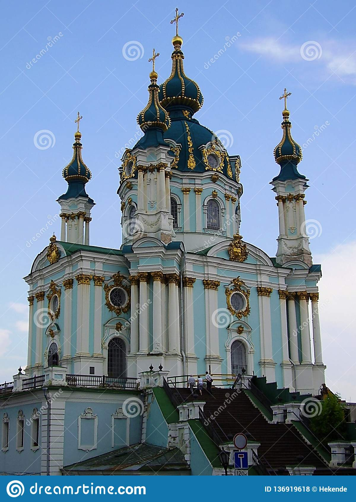 Ukraine, Kiew, 2010, Andrews Church, goldene Hauben, Geschichte, Dnipro-Flüsse
