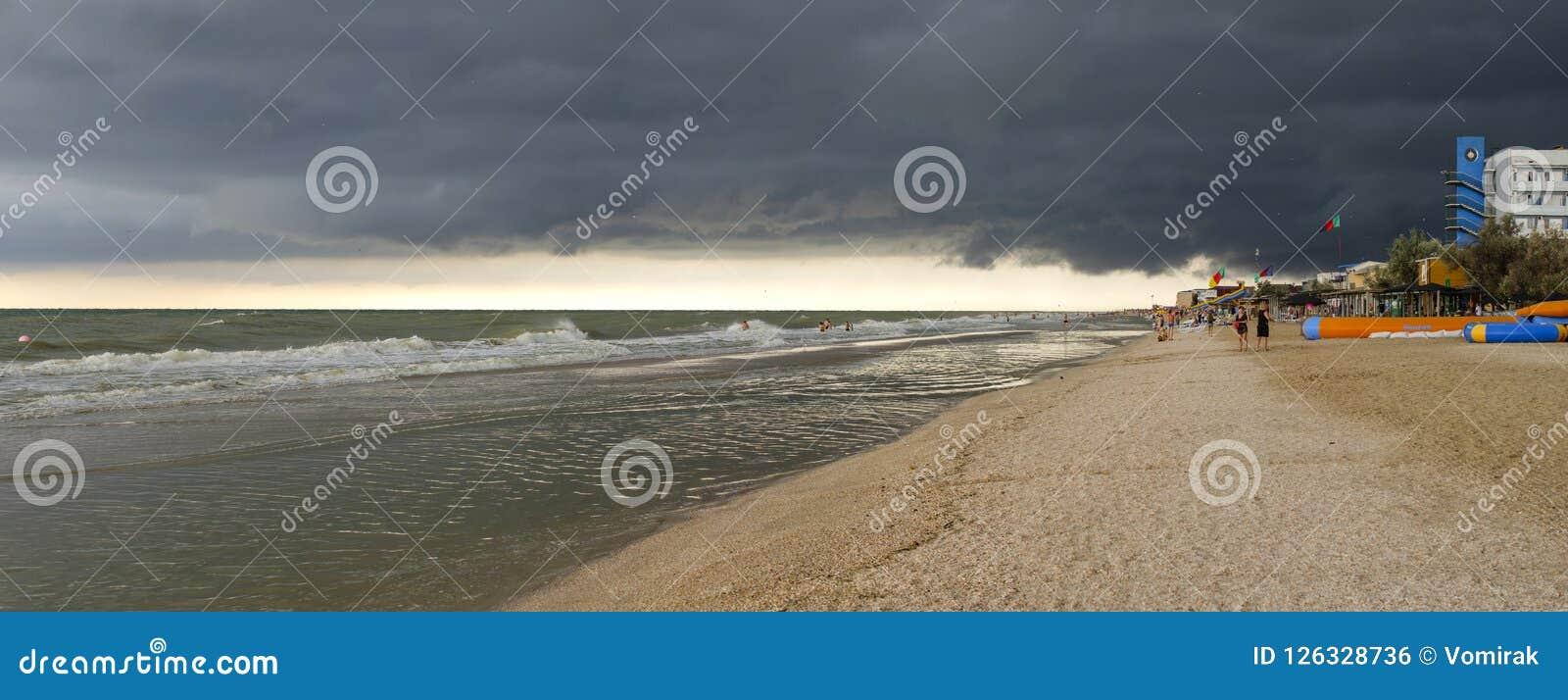 Ukraine, Kirillovka, Kosa Peresyp, July 25, 2018. Thunderclouds before the heavy rain on the coast of the Sea of Azov