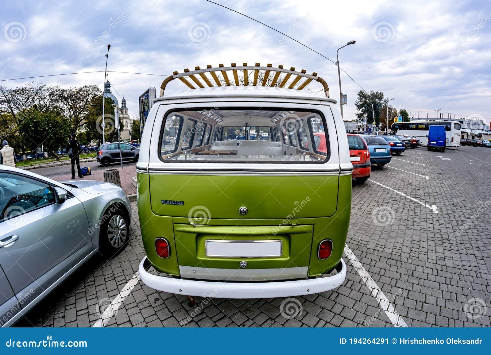 Ukraine Lviv 15 October 2015 German Classic Volkswagen Transporter Van In The Parking Lot Back View Editorial Photo Image Of Mini Minibus 194264291