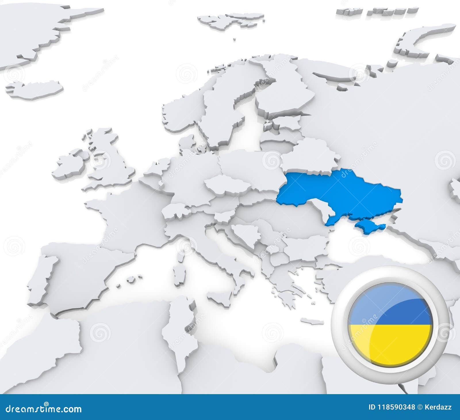 Ukraine On Map Of Europe.Ukraine On Map Of Europe Stock Illustration Illustration Of Button