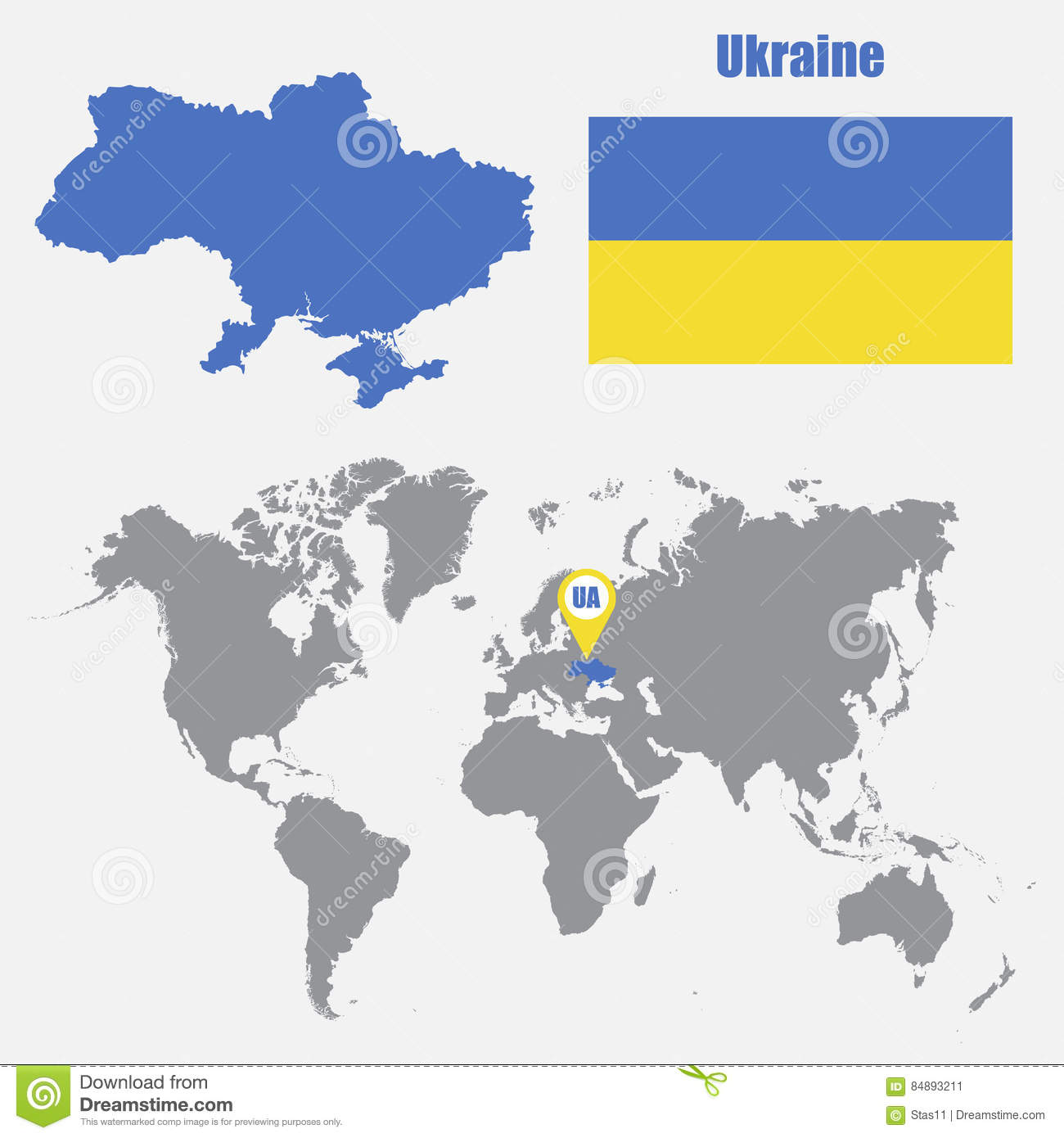 Ukraine In World Map.Ukraine Map On A World Map With Flag And Map Pointer Vector