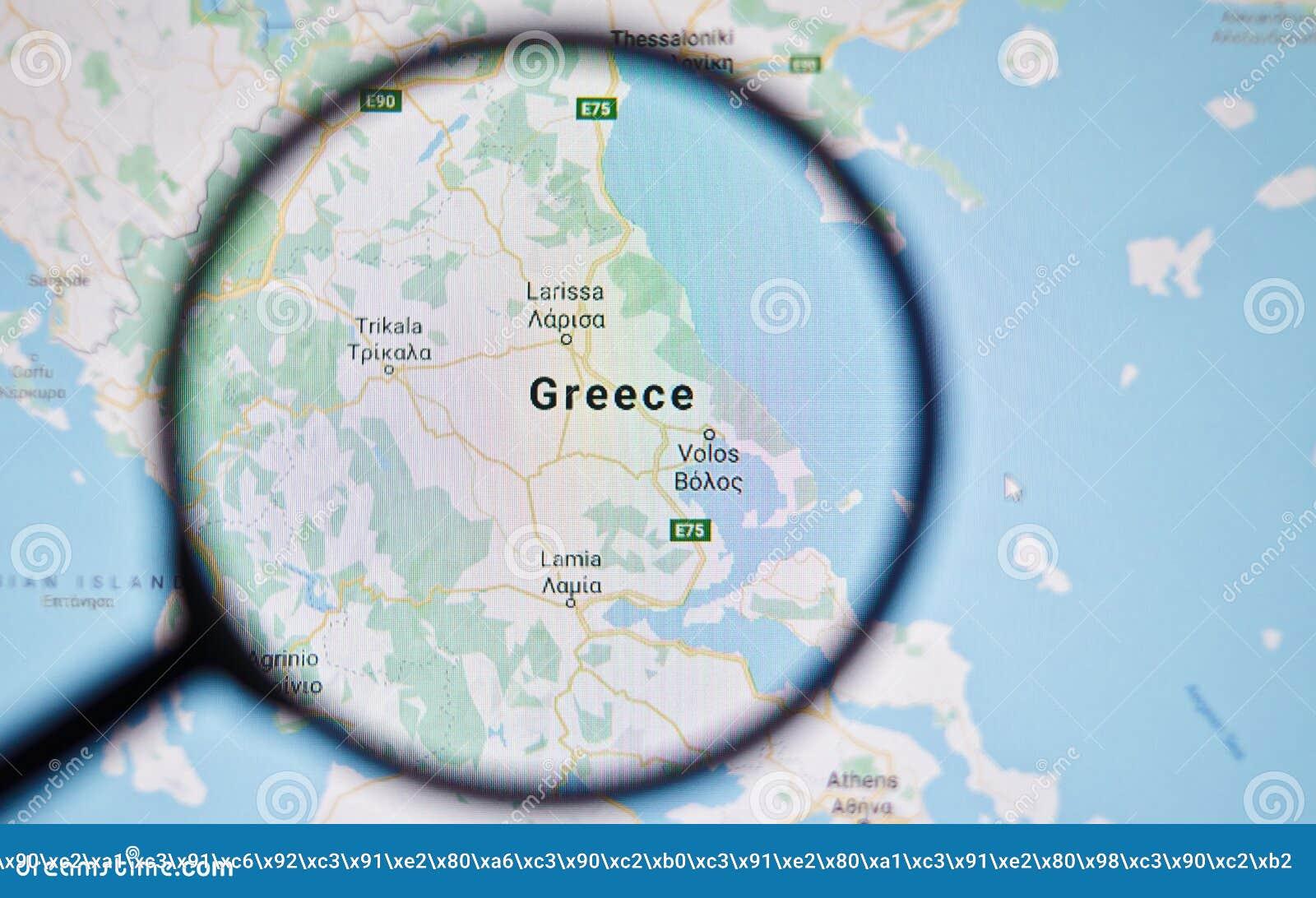 Ukraine Odessa April 25 2019 Greece On Google Maps Through