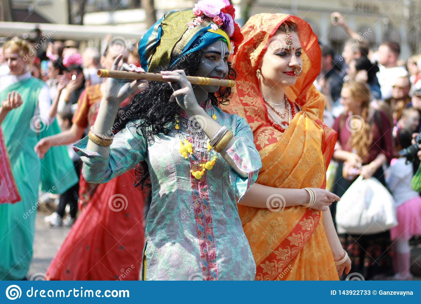 Ukraine, Odessa - April 1, 2019 Hare Krishna members sing and dance during a festive procession dedicated to the Day of Laughter