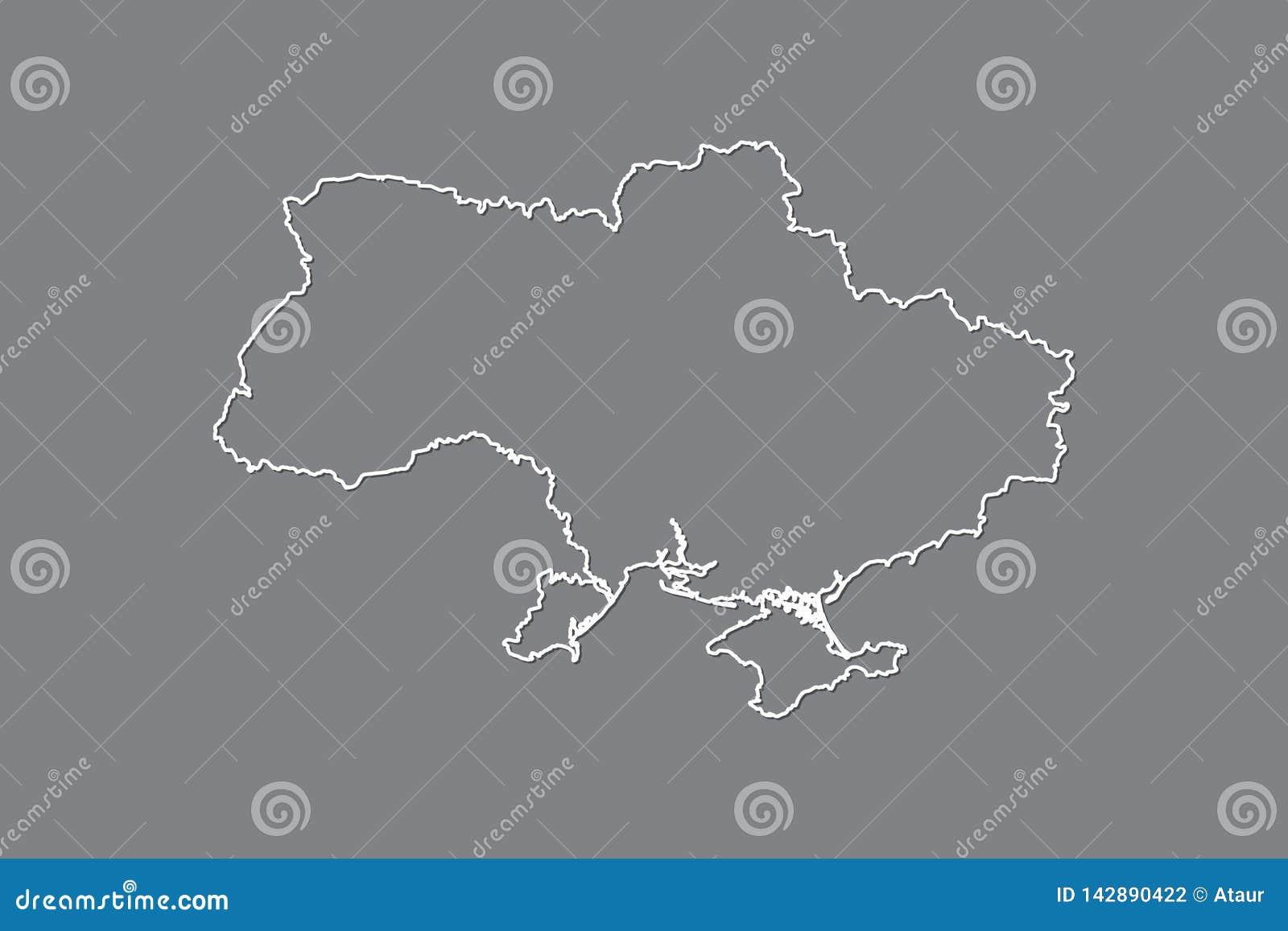 Ukraine-Vektorkarte mit einzelner Grenze Grenze unter Verwendung der weißen Farbe auf dunkler Hintergrundillustration