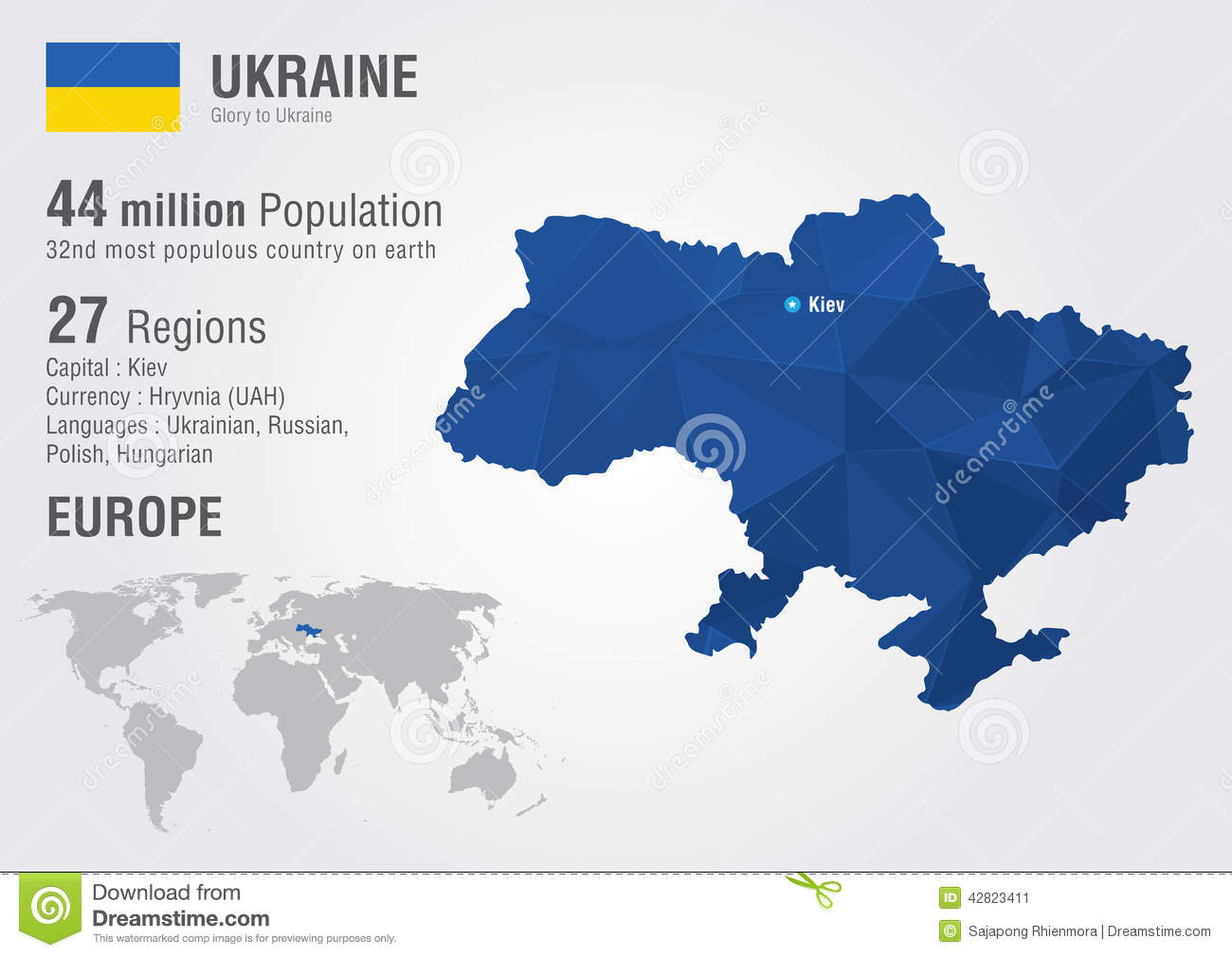 Ukraine World Map With A Pixel Diamond Texture Stock Vector