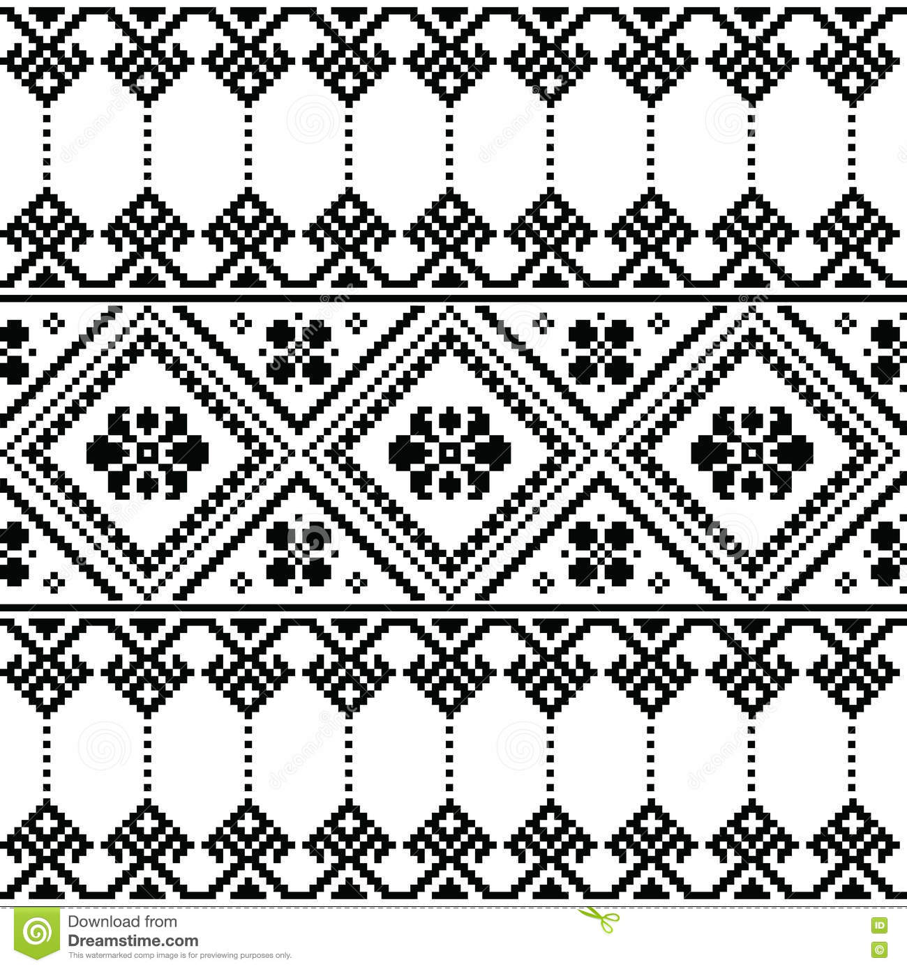 Ukrainian Or Belarusian Folk Art Black Floral Embroidery Pattern Or ...