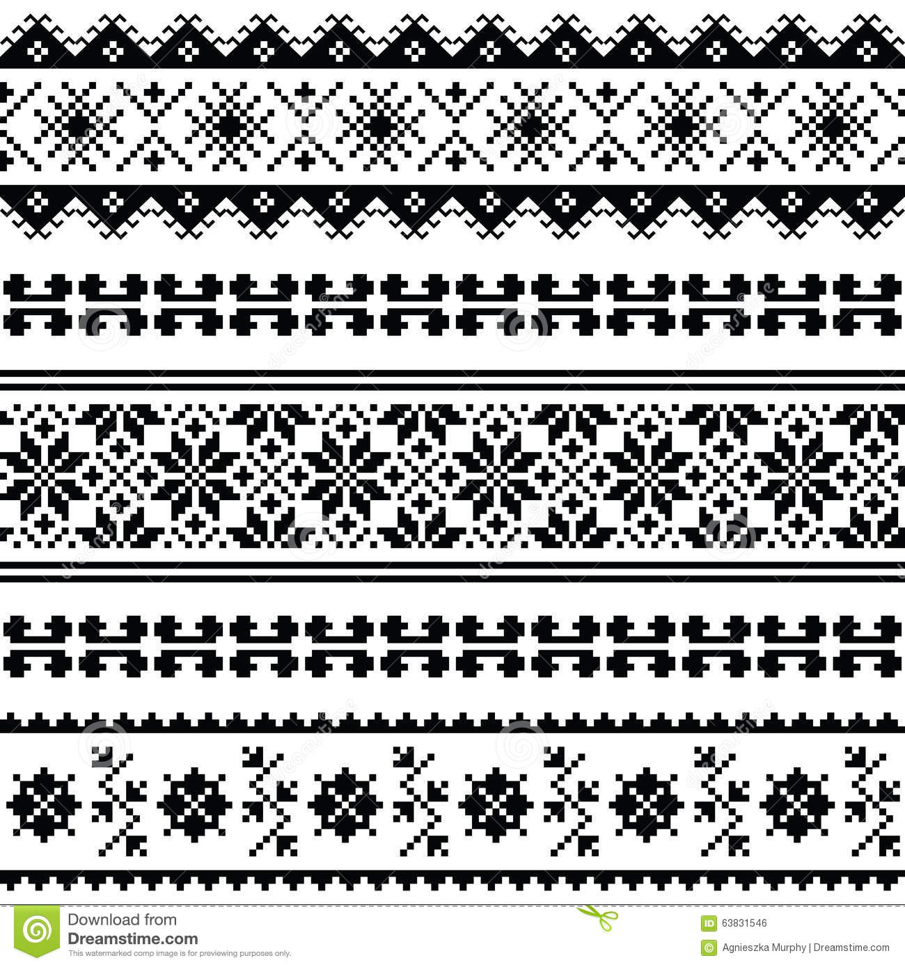 Ukrainian, Belarusian Folk Art Embroidery Pattern Or Print In Black ...