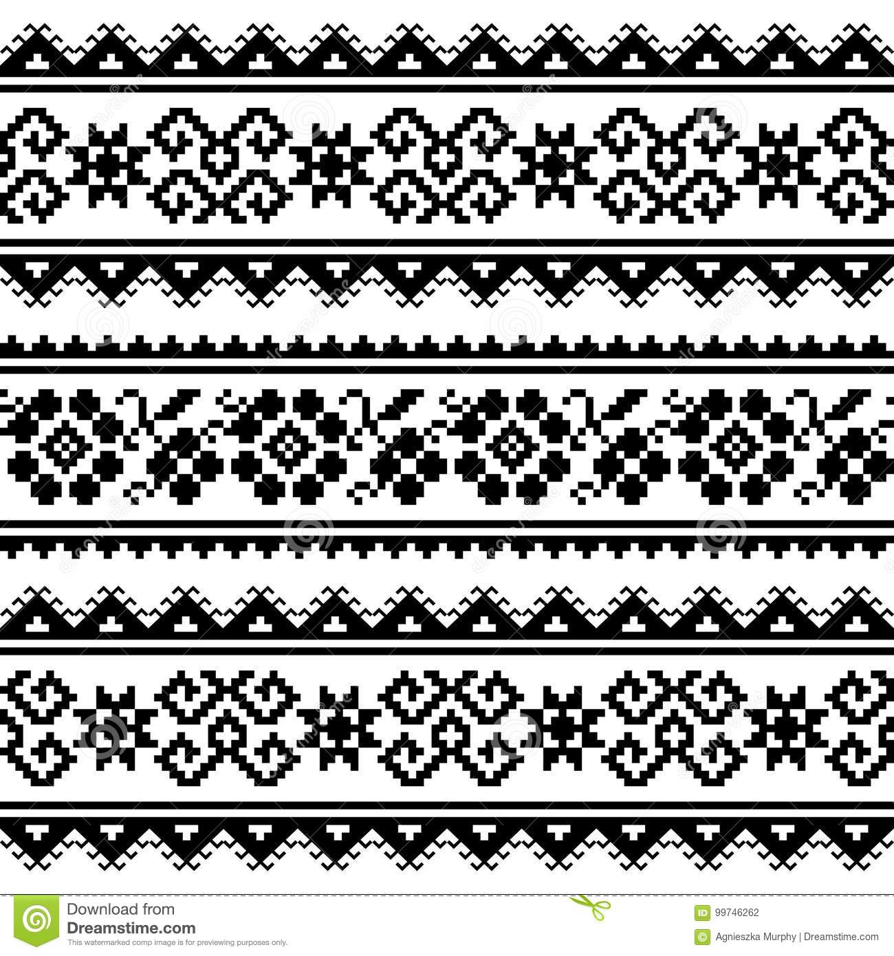 Ukrainian Or Belarusian Folk Art Embroidery Pattern Or Print In ...