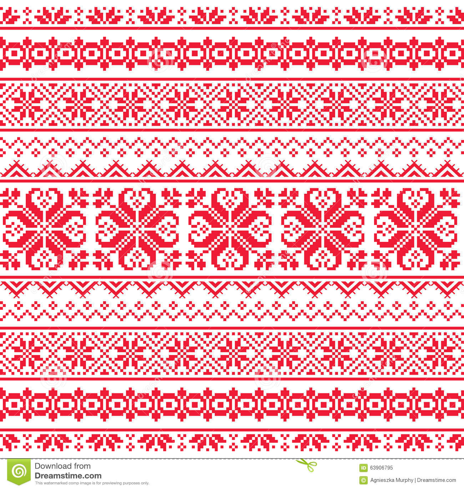 Ukrainian belarusian red embroidery seamless pattern