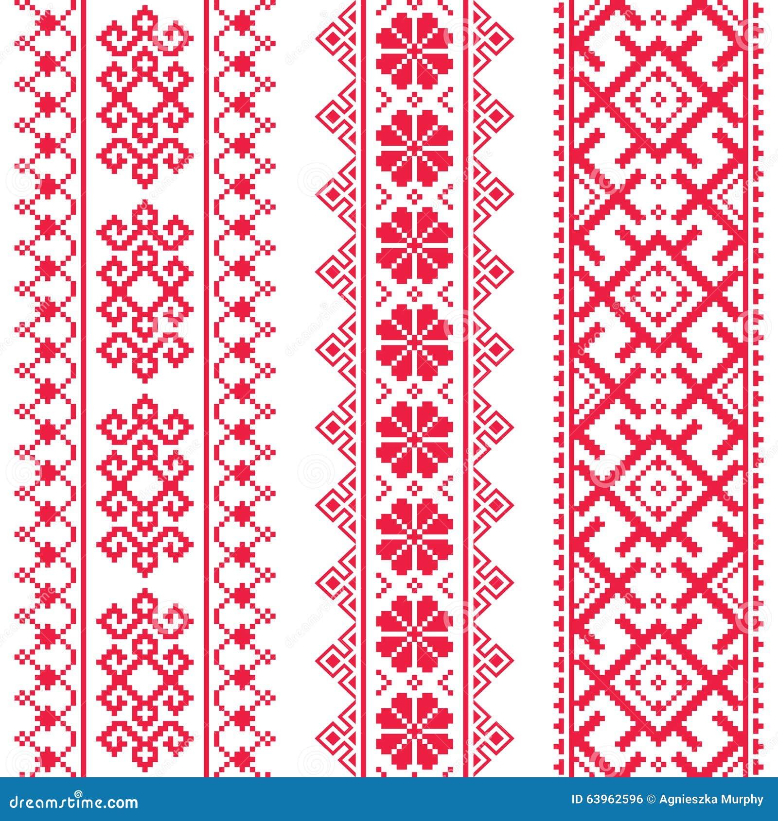 Ukrainian, Belarusian Red Embroidery Seamless Pattern