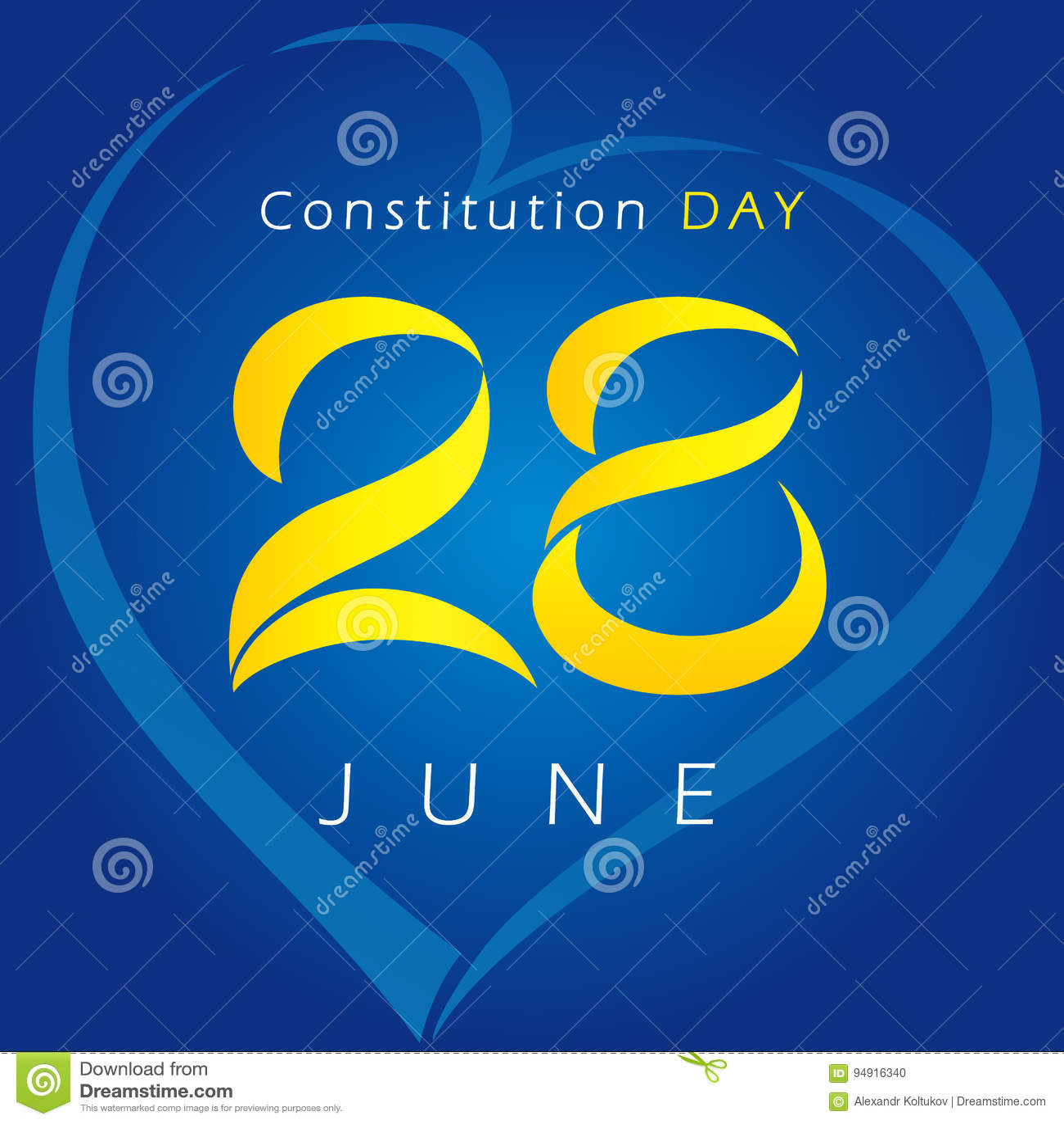 Ukrainian Constitution Day Vector Greetings Stock Vector