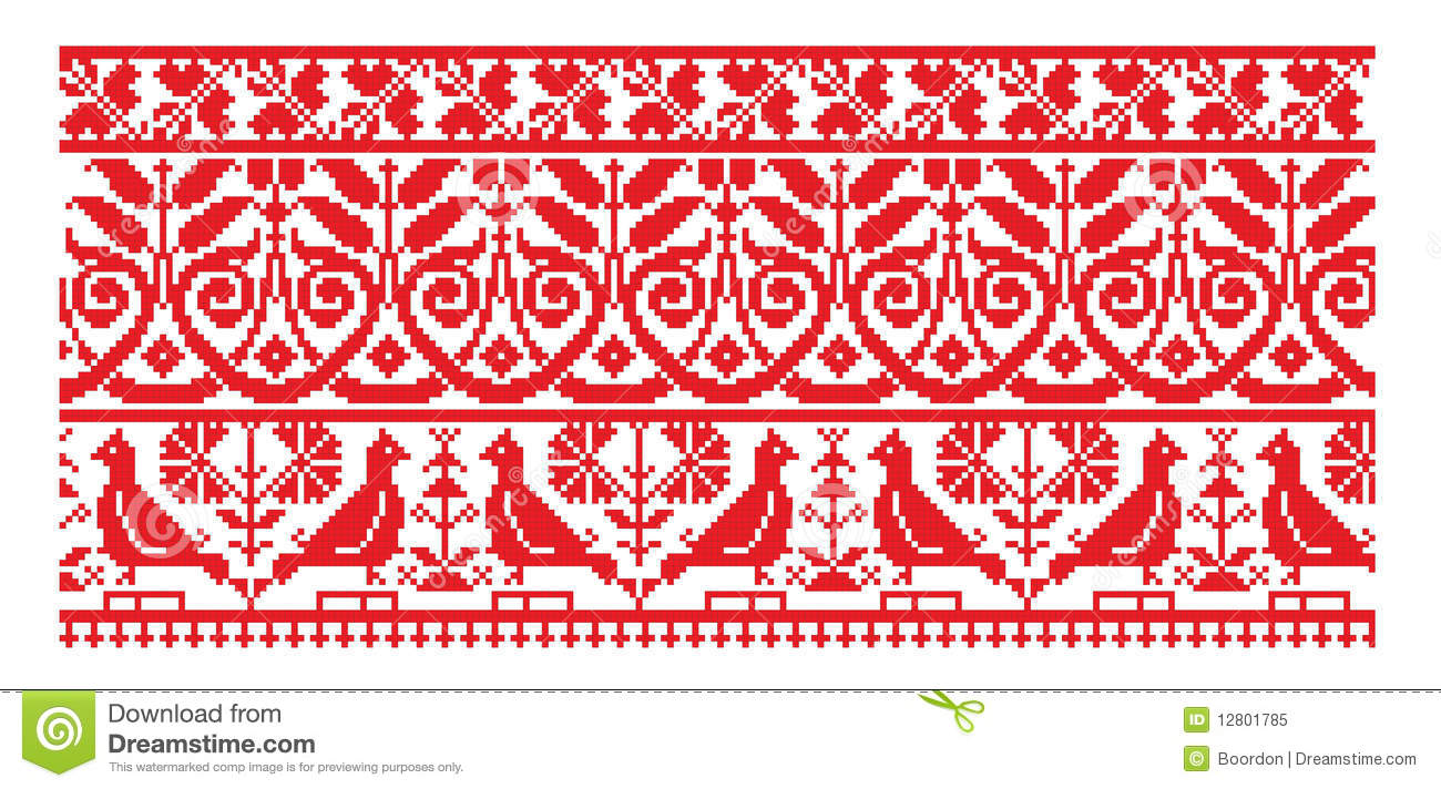 Ukrainian embroider line pattern stock vector image