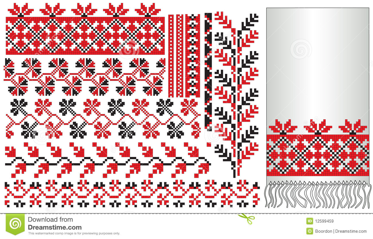Ukrainian embroider pattern elements royalty free stock
