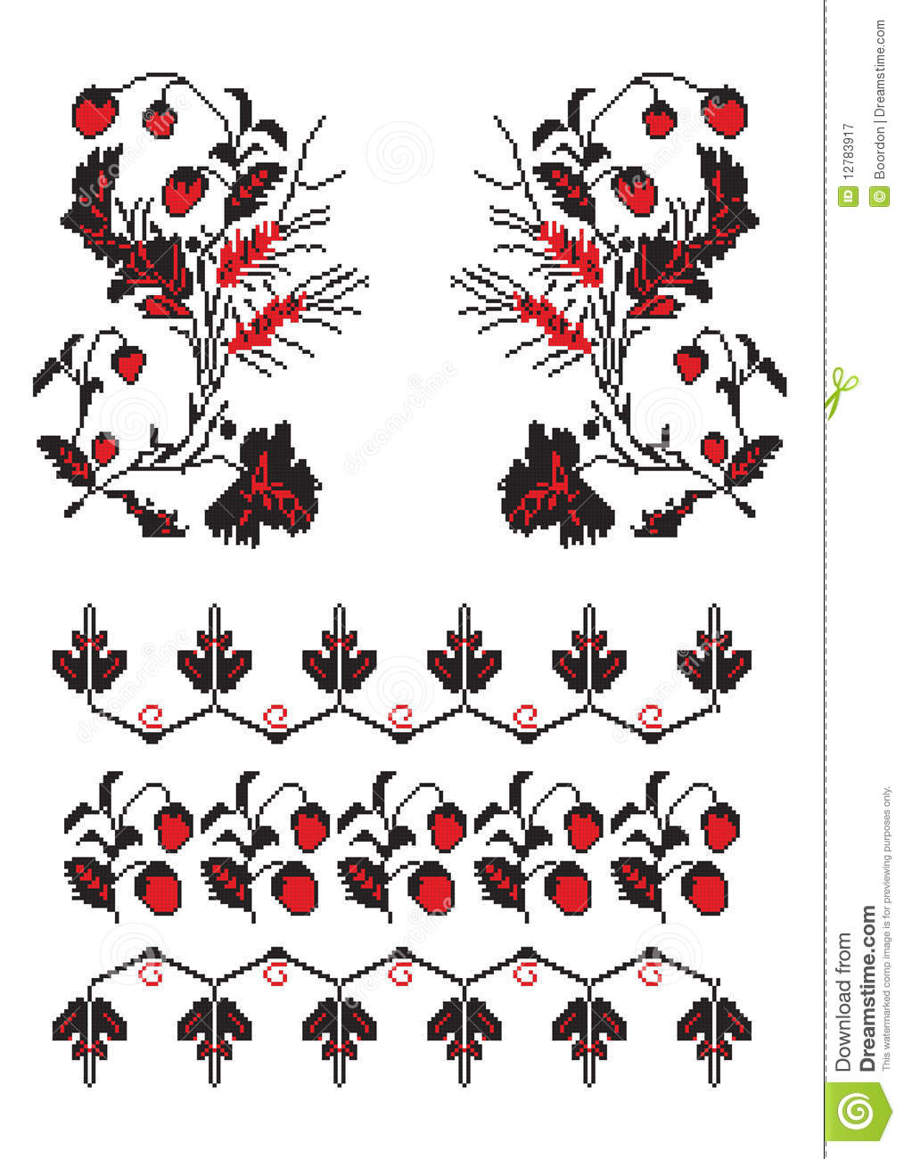 images of Ukrainian Embroider Strawberry Pattern Royalty Free Stock ...