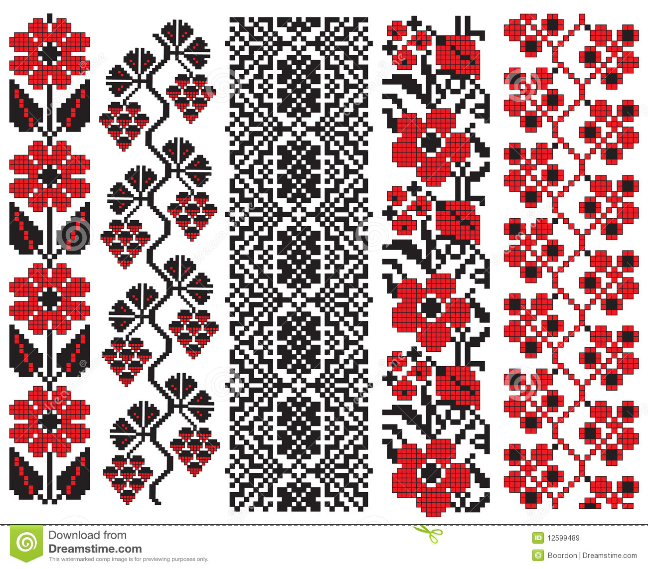 Ukrainian Embroidery Flower Elements Stock Vector - Illustration of ...