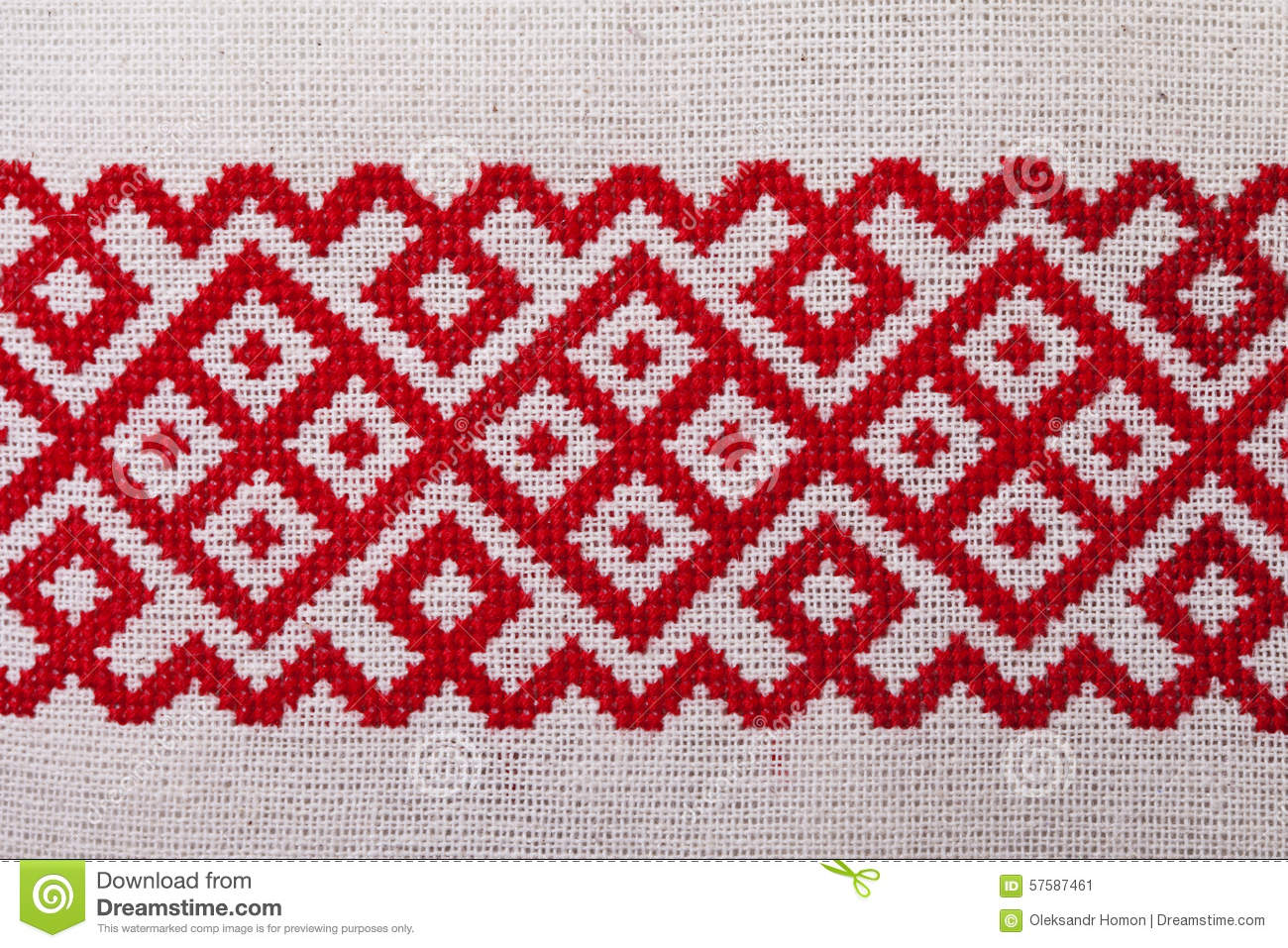 Ukrainian Embroidery On The Black Fabric And Thread Embroidery On A Light Wooden Table Stock