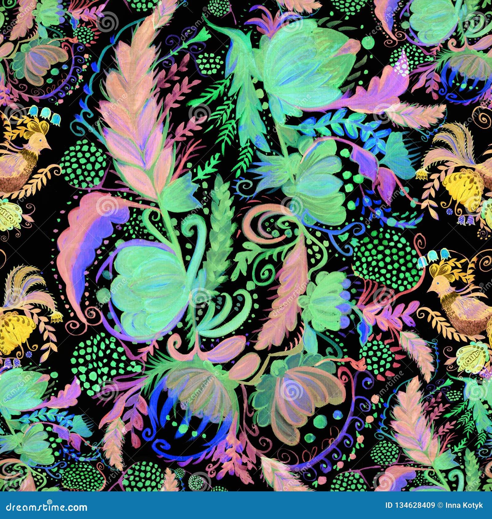 Ukrainian ethnic painting. Petrikovskaya painting. Flower composition. Stylized flowers.Seamless background. Use printed materials