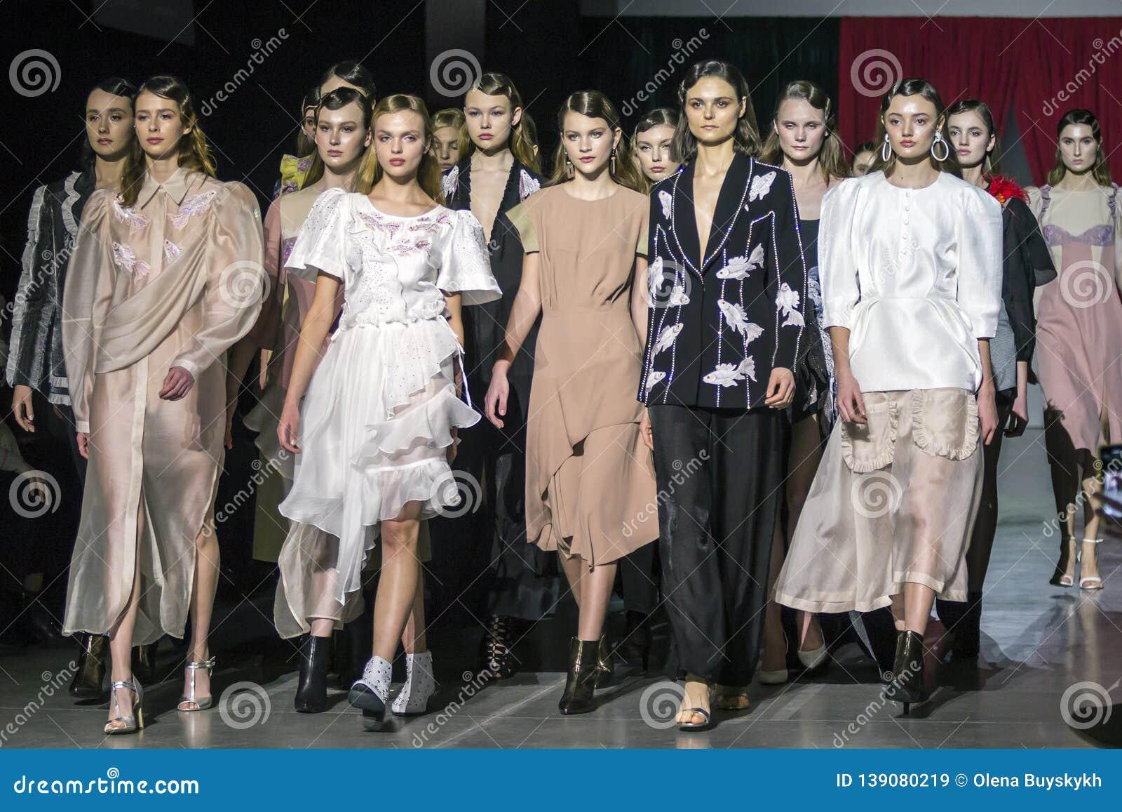 15c666a927c KYIV, UKRAINE - FEBRUARY 5, 2019: DARJA DONEZZ collection show during Ukrainian  Fashion Week 19-20 at Mystetsky Arsenal in Kyiv