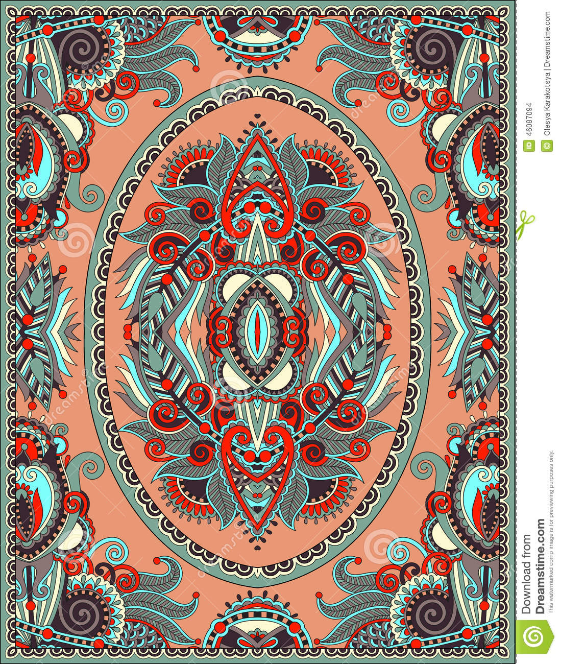 Ukrainian Floral Carpet Design For Print On Canvas Stock