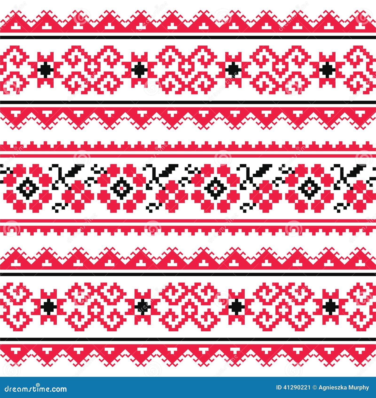 Ukrainian folk art embroidery pattern or print stock image