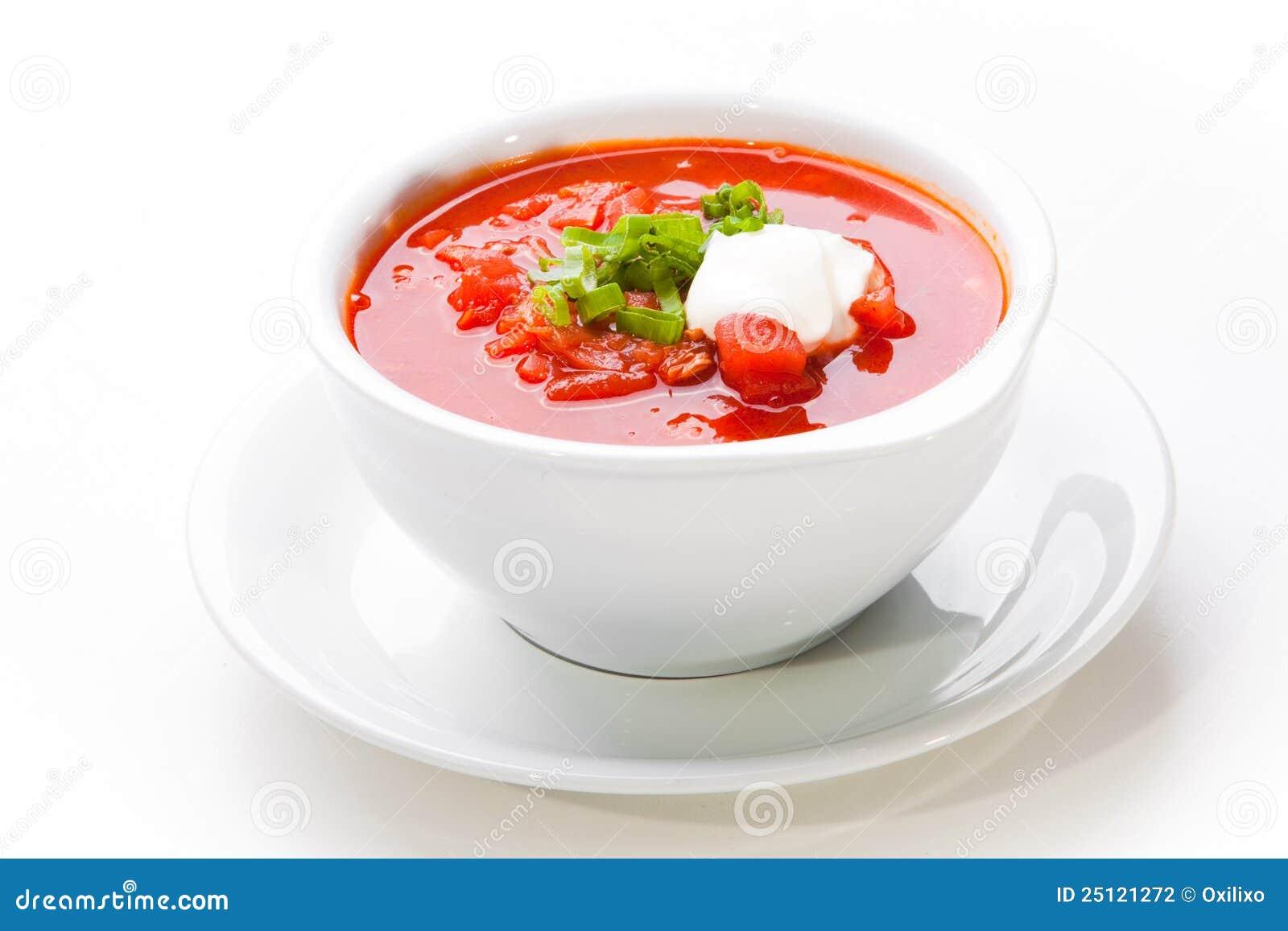 Ukrainian and russian national red soup-borsch on wooden tray. closeup ...