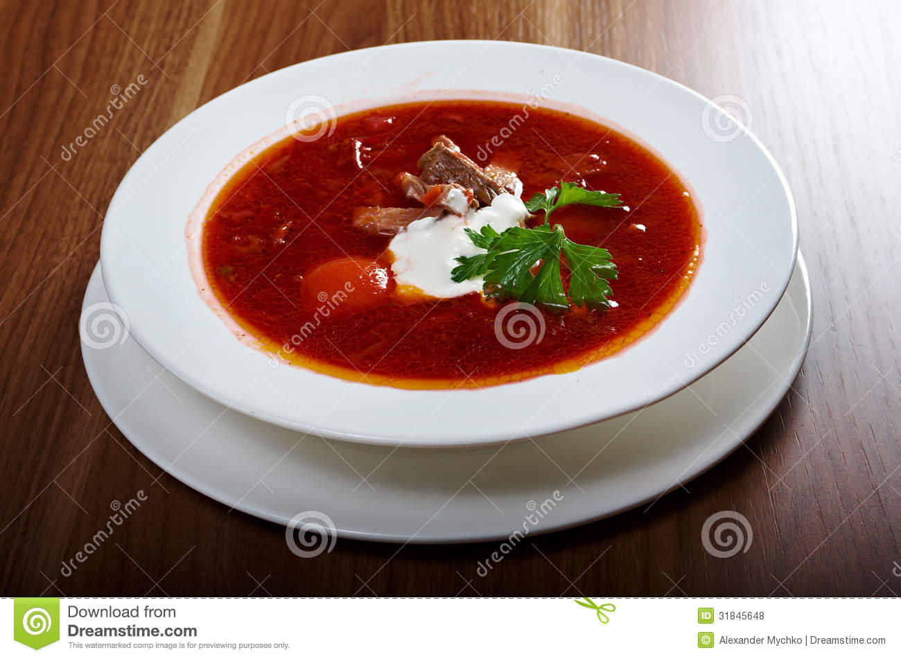 Ukrainian And Russian Red-beet Soup (borscht) Royalty Free ...