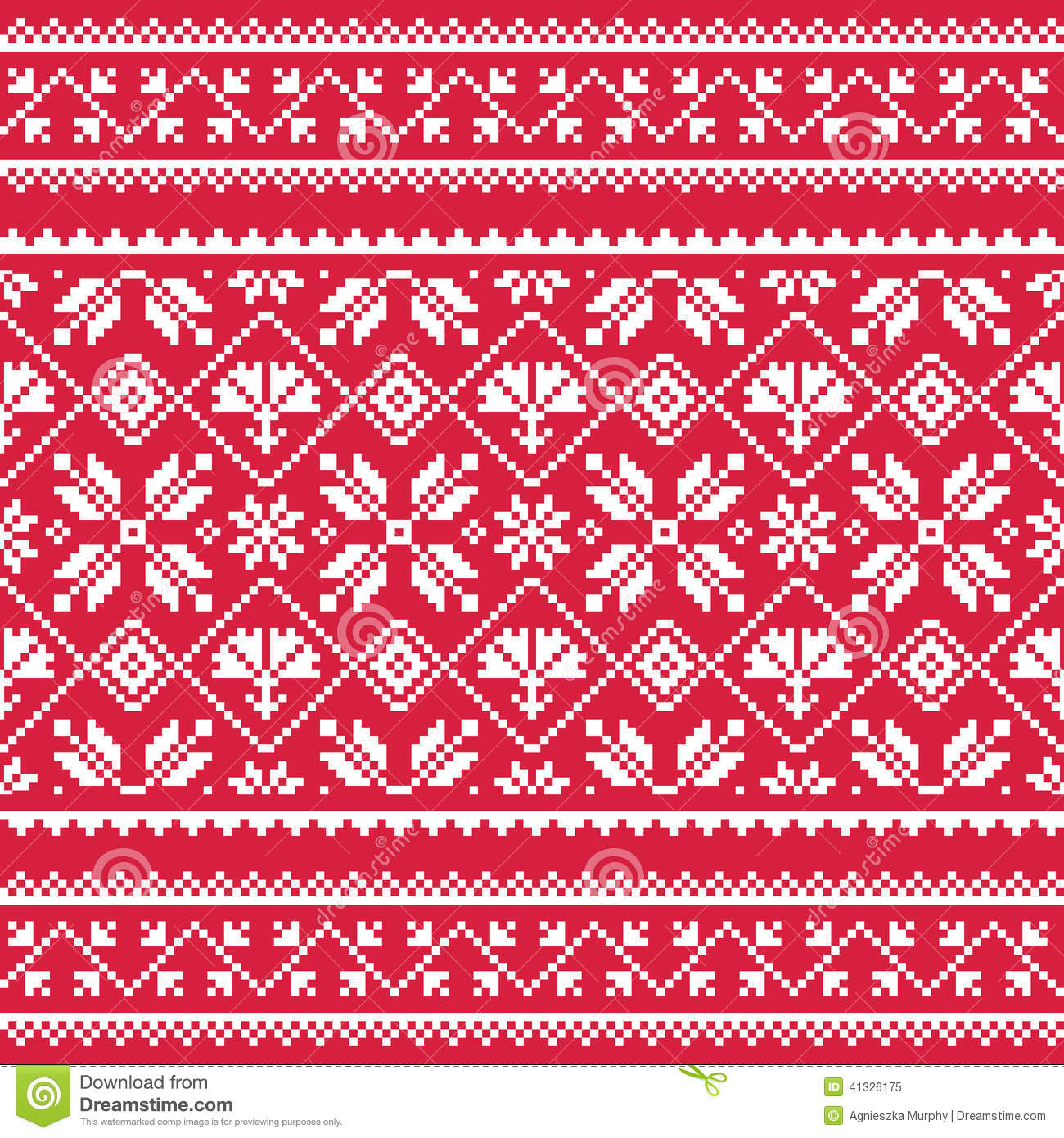 Ukrainian Slavic Folk Art White Embroidery Pattern On Red