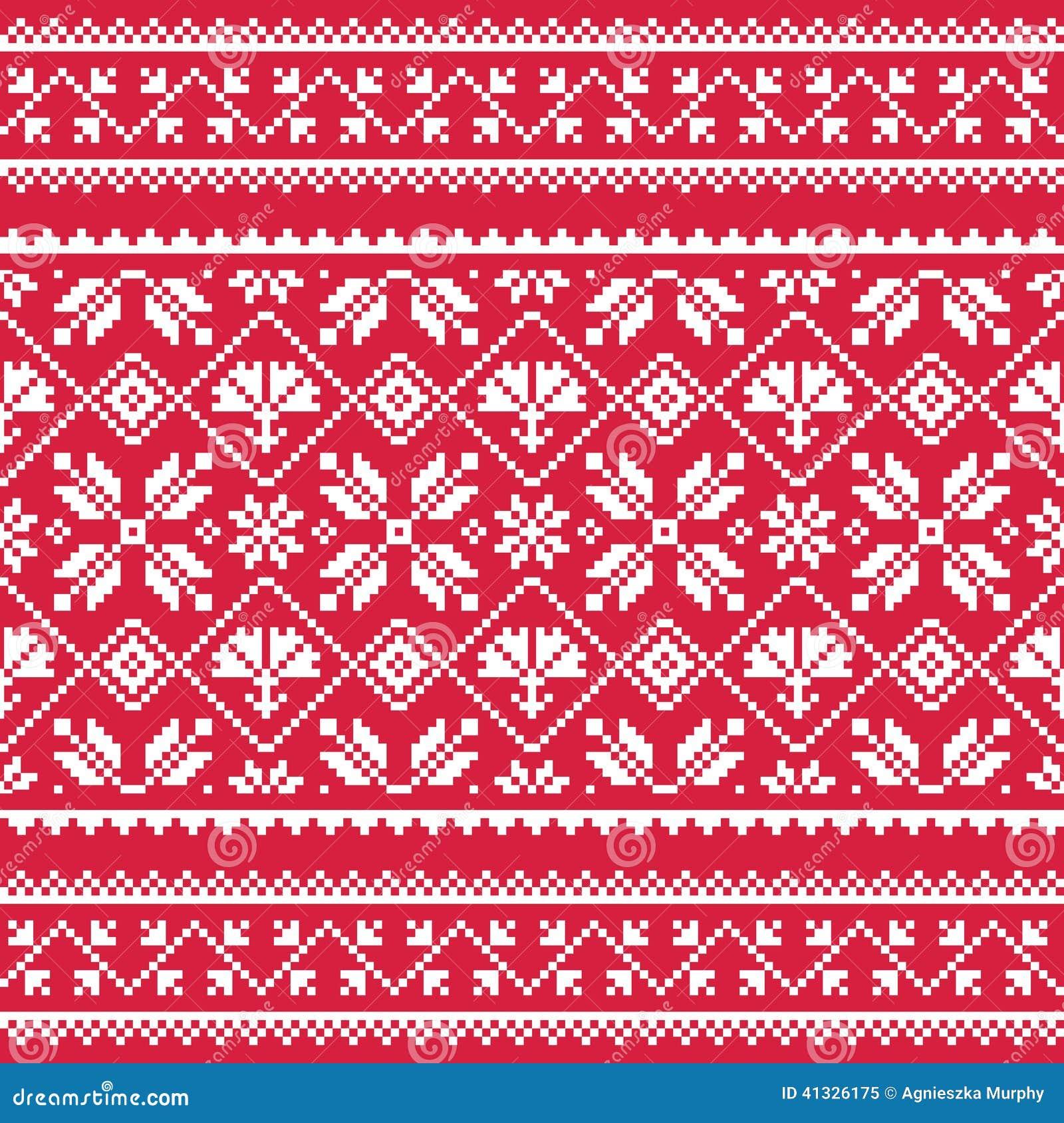 Ukrainian Slavic Folk Art White Embroidery Pattern On Red
